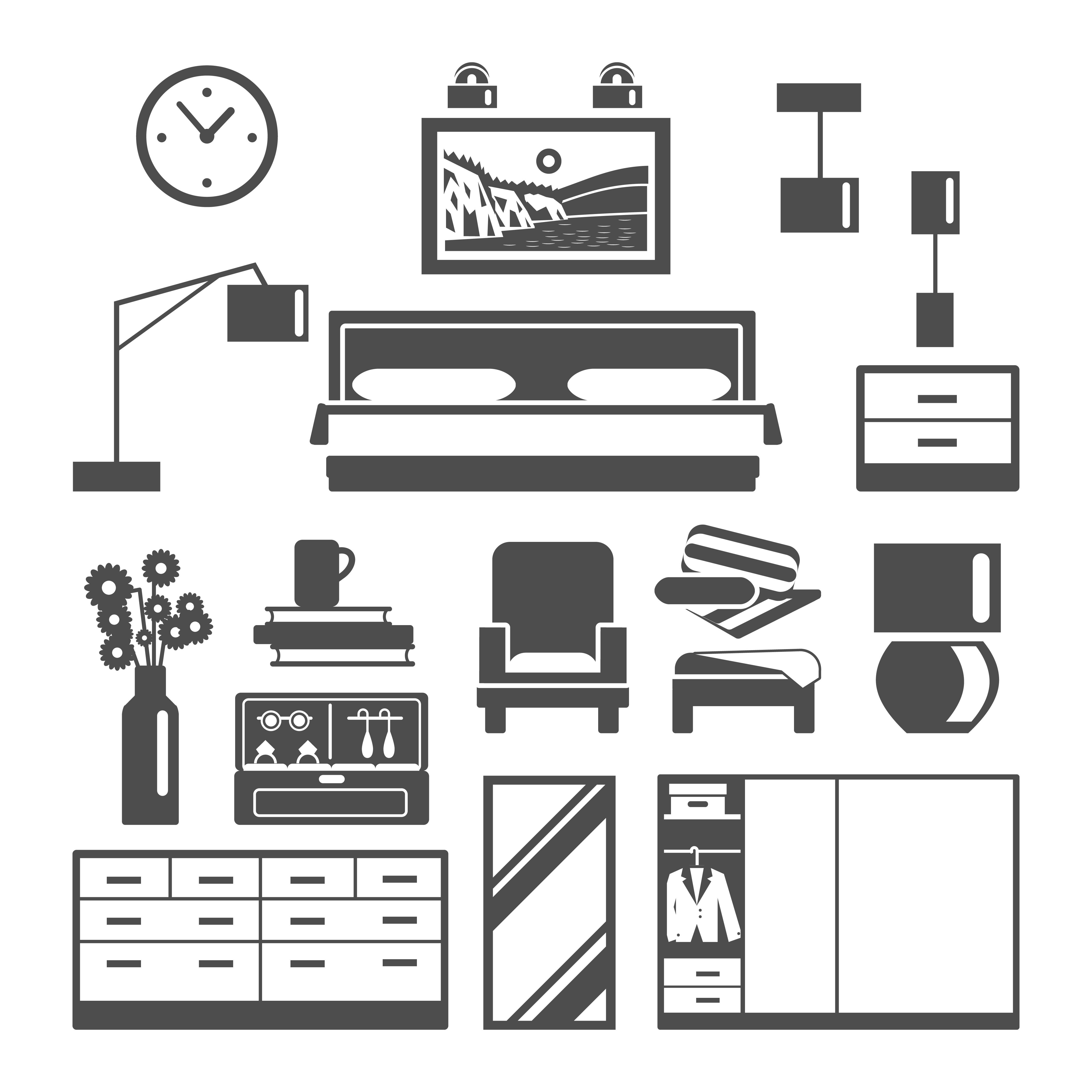 Bedroom Furniture Icons Set Download Free Vectors Clipart Graphics Vector Art