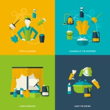 Cleaning Flat Set - Free Vector Art Stock