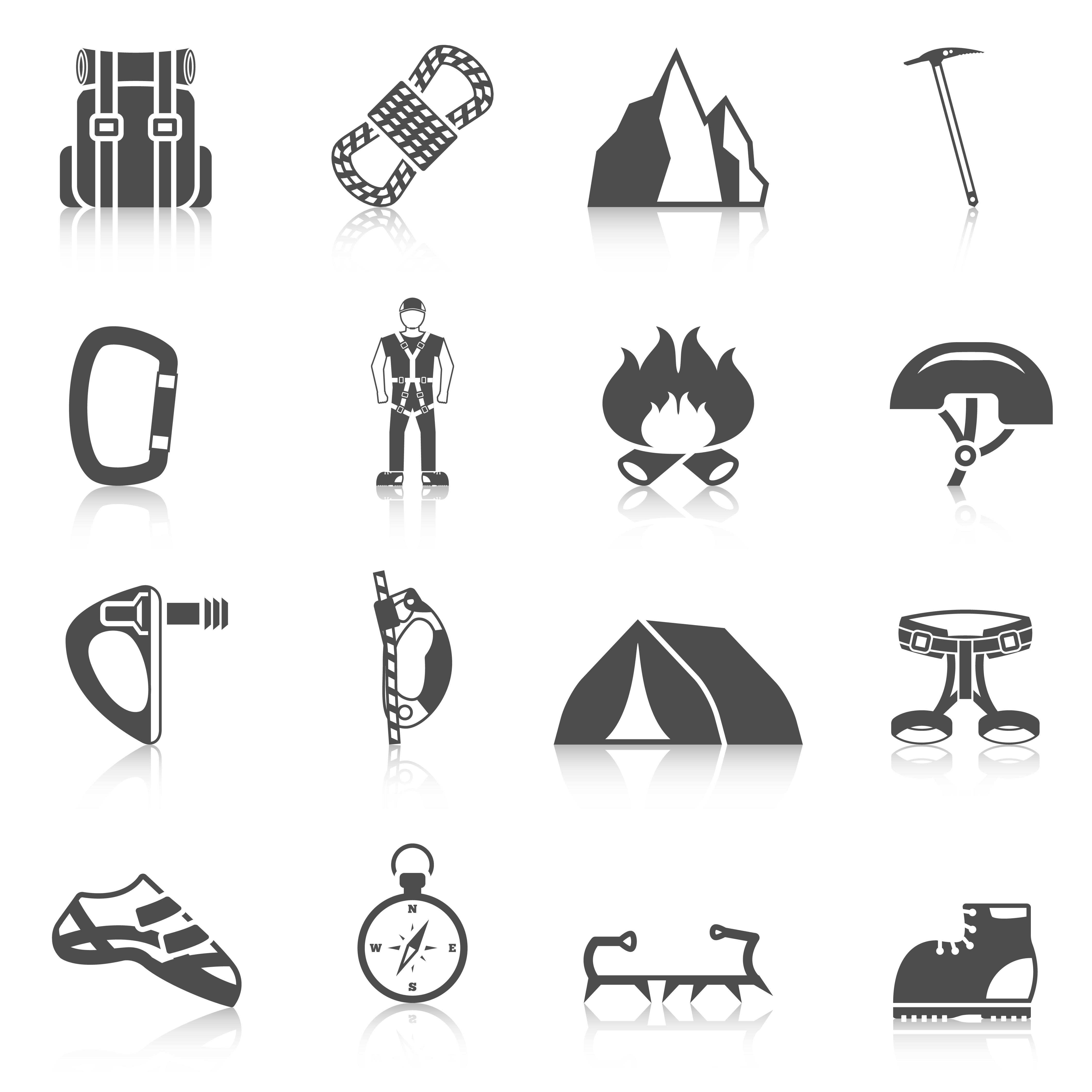Climber Gear Equipment Icons Black