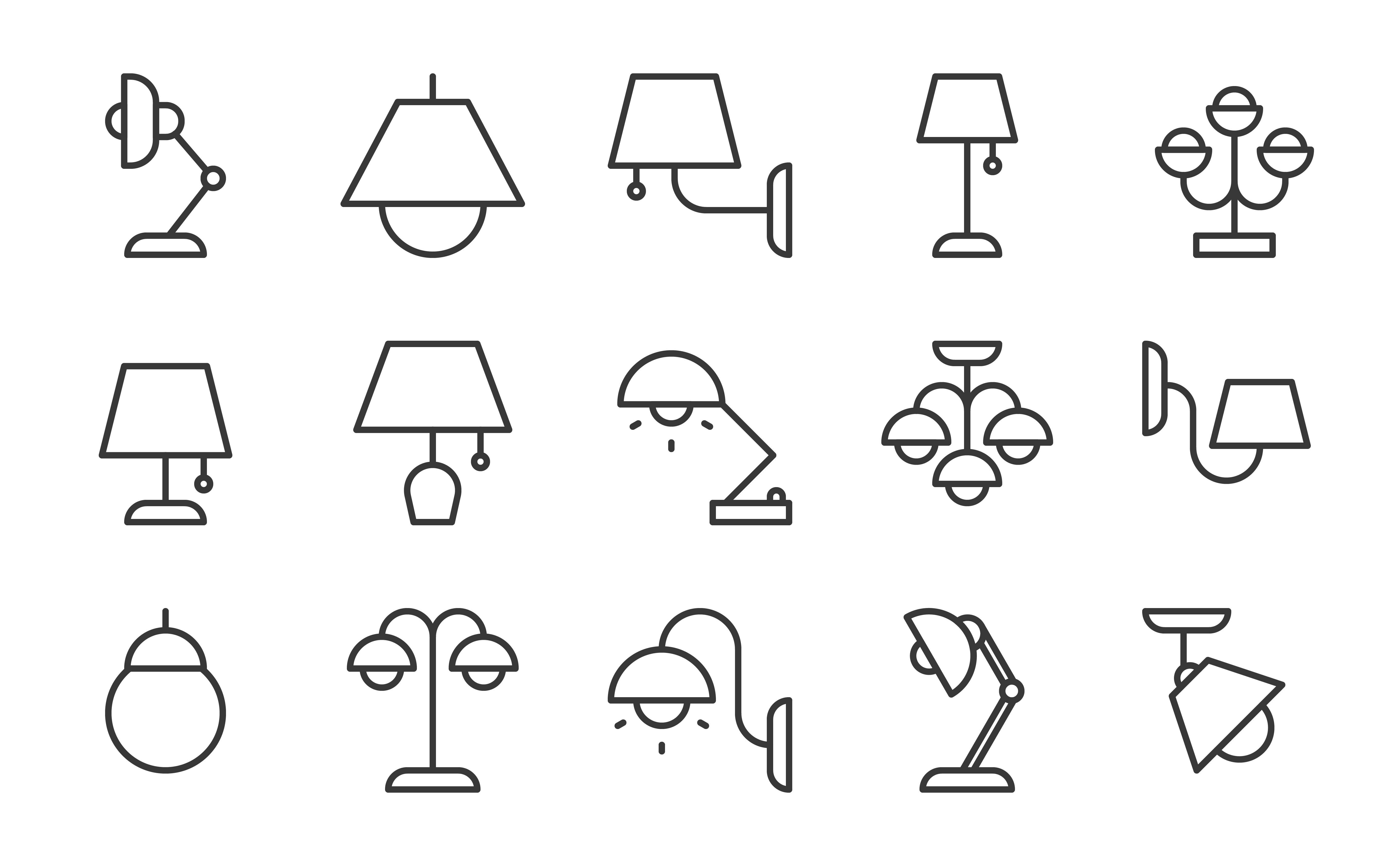 Lamp And Lantern Icon Set