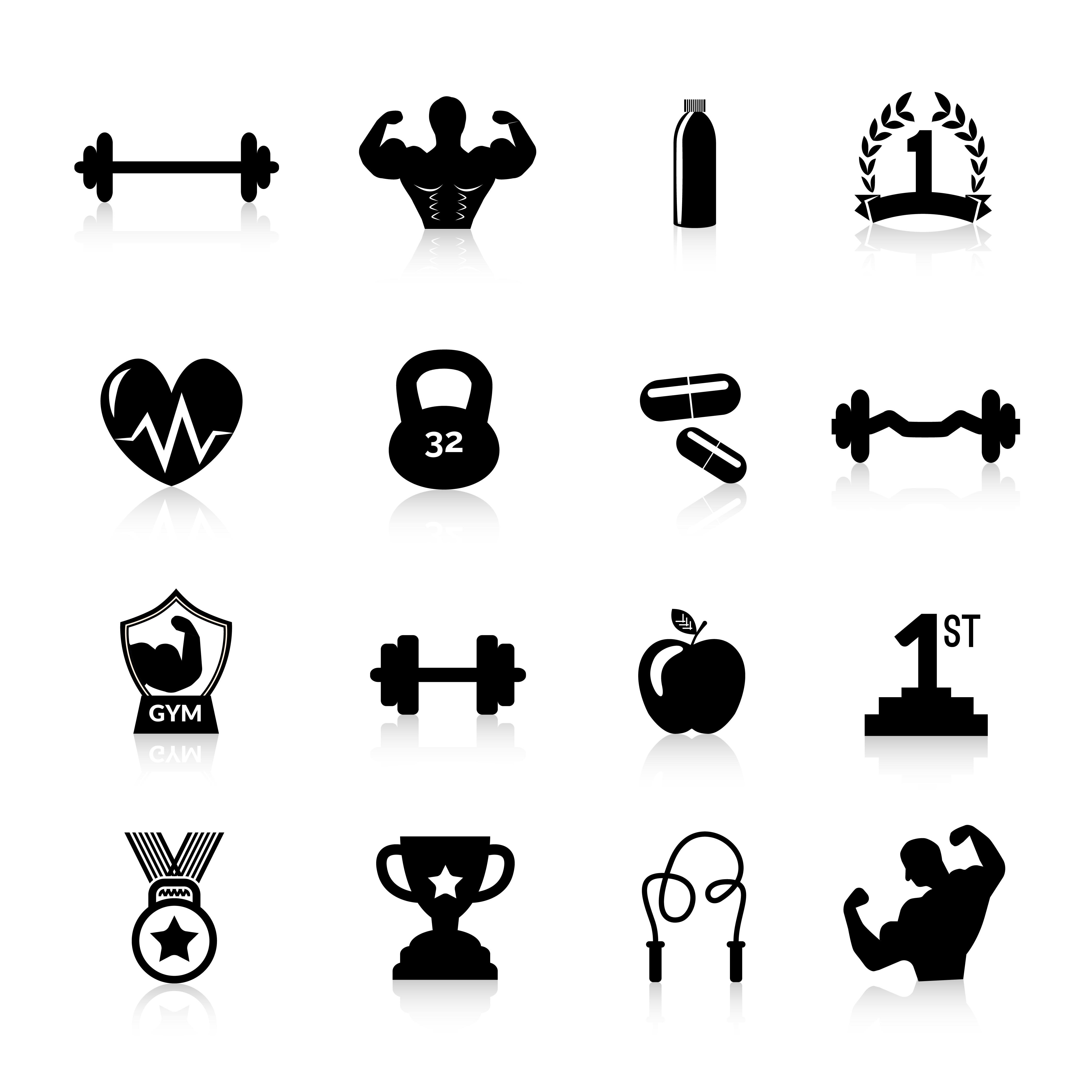 Bodybuilding Icons Black