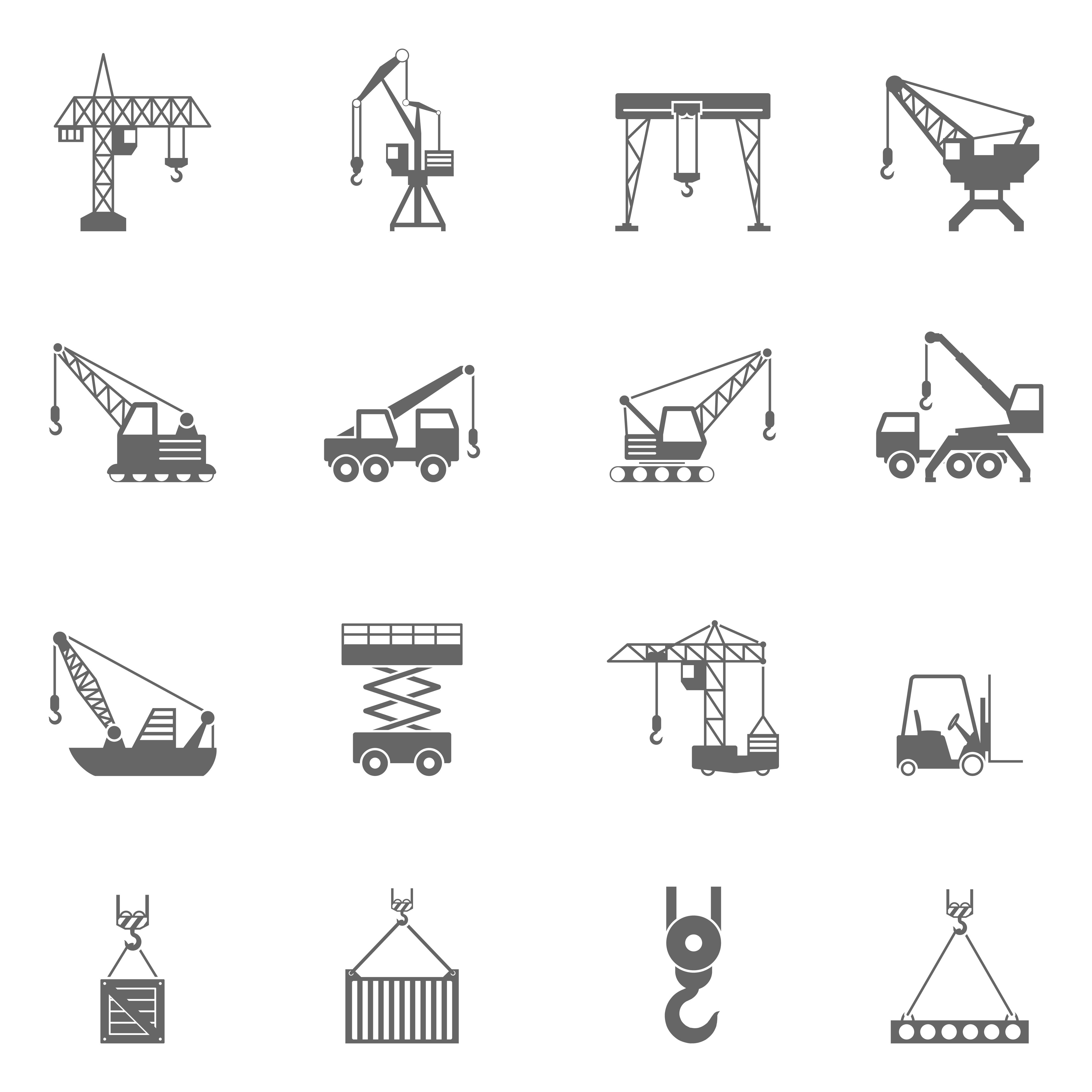 Building Construction Crane Black Icons Set