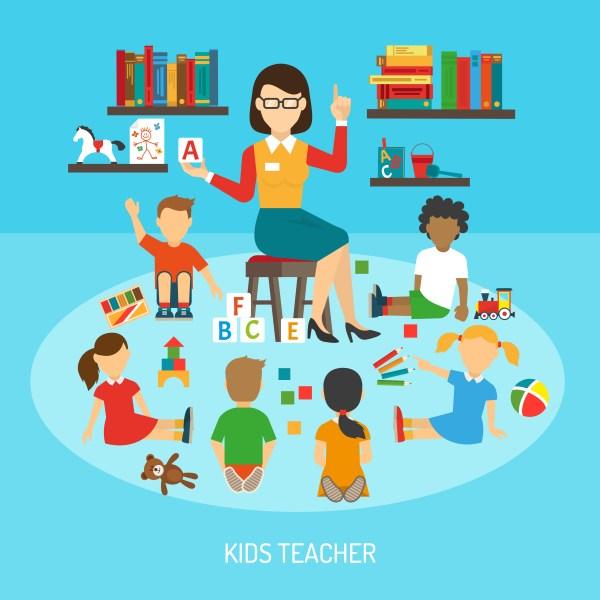 Kids Teacher Poster - Free Vector Art Stock