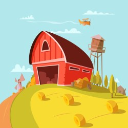 farm cartoon background building clipart vector illustration hay