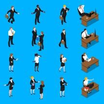 Business People Work Isometric Icons Set - Free