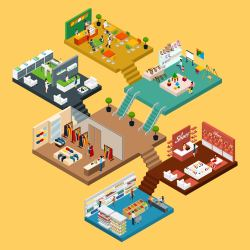 mall shopping vector isometric concept map illustration center different floors graphic icon 3d graphicriver clipart freepik shoping link system conceptual