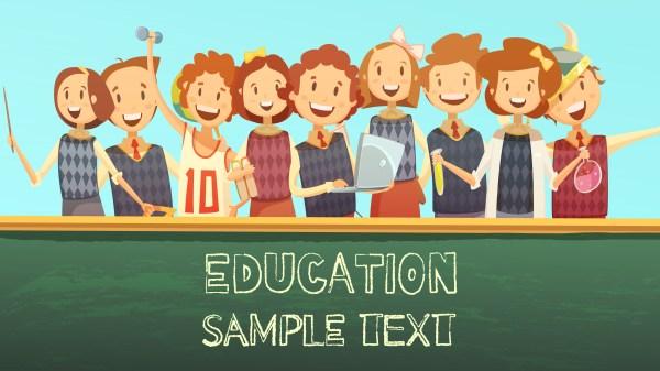 School Education Title Advertisement Cartoon Poster Vector
