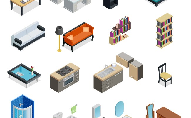 Interior Isometric Objects Set Vector Download Free