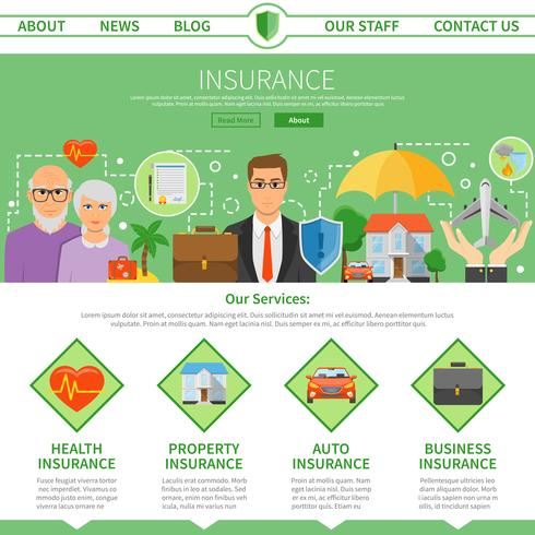 Insurance Company One Page Flat Design Download Free Vectors Clipart Graphics Vector Art