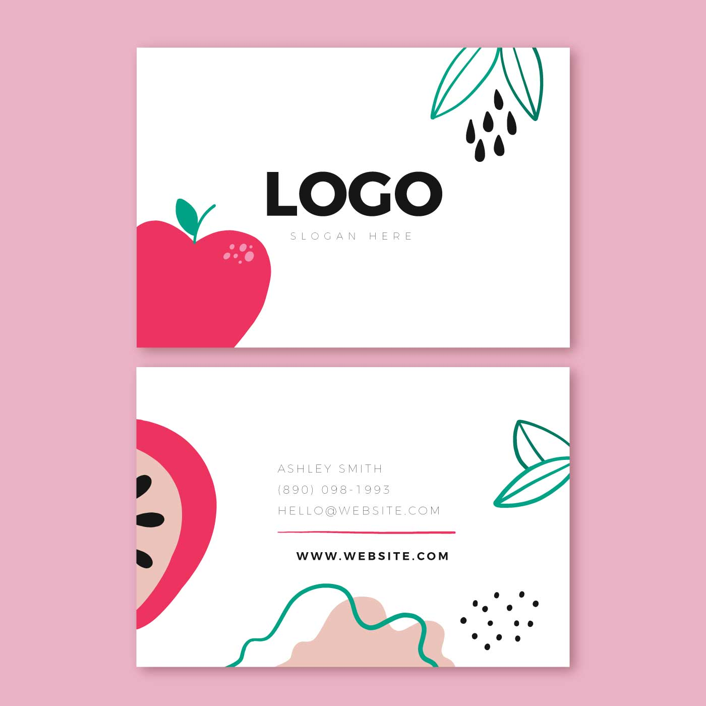 Tons of awesome fruit apple wallpapers to download for free. Cute Business Card Template With Red Apple And Doddles