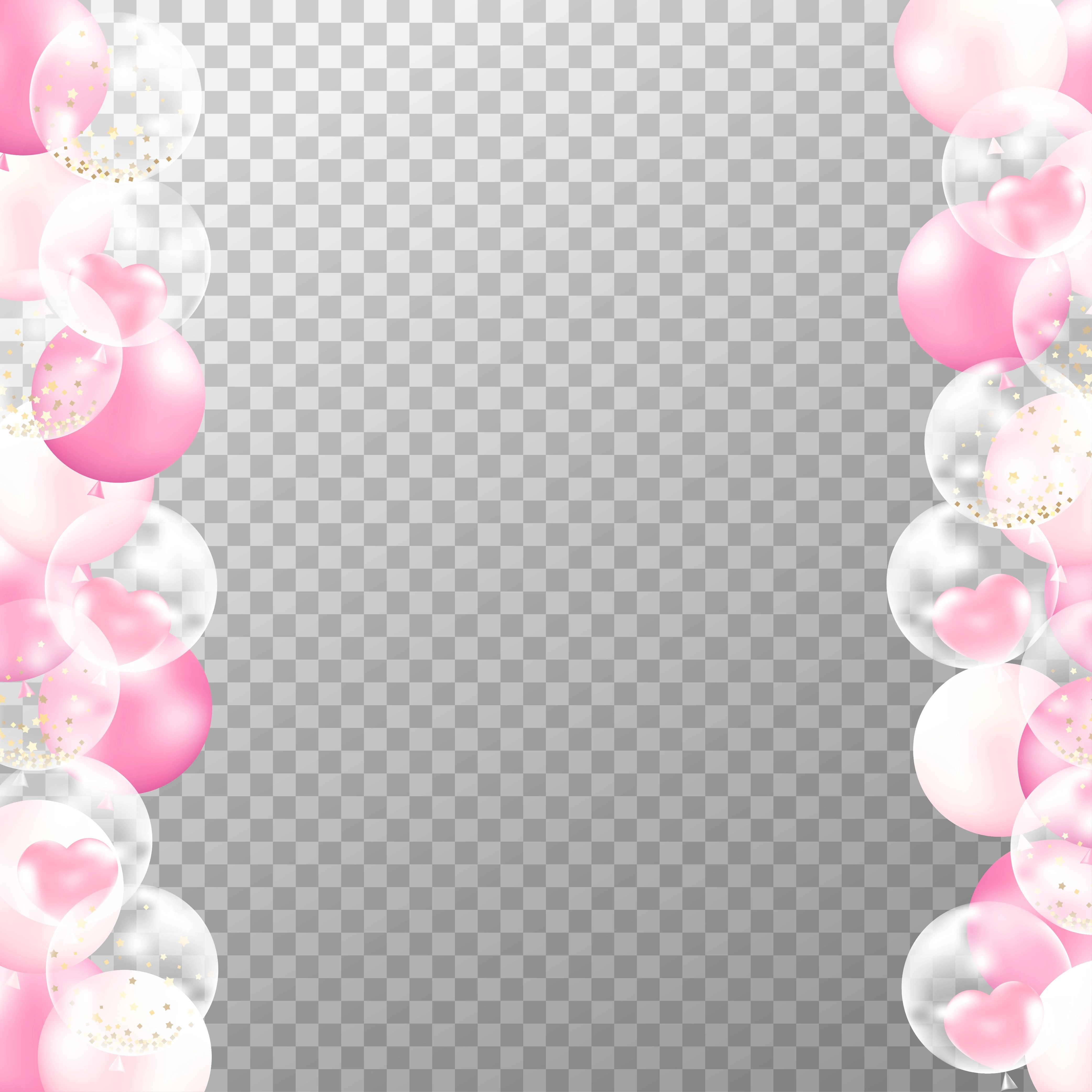 Realistic Balloons Frame With Transparent Background Pink And White Party Balloons Vector For