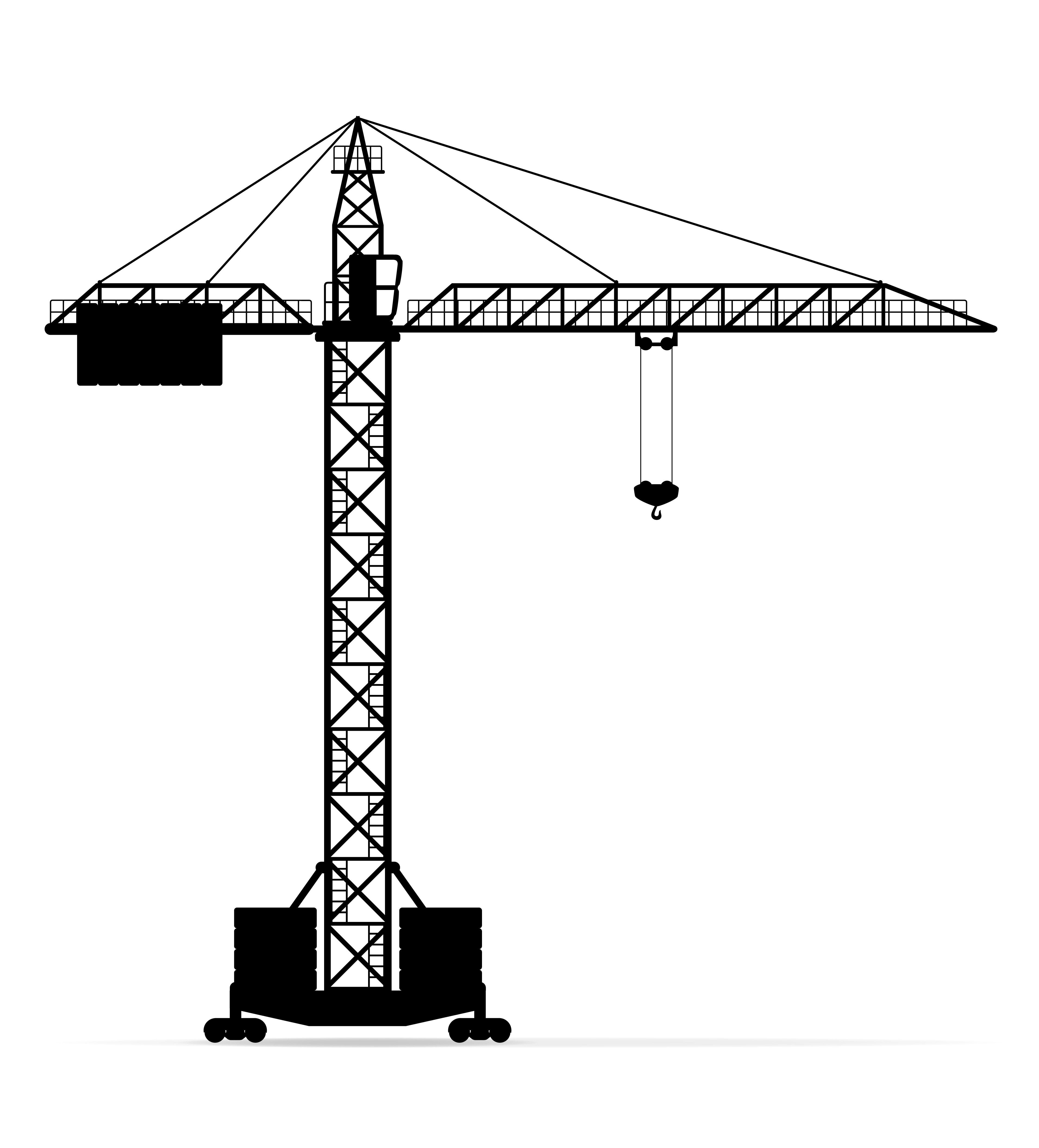 building crane black silhouette outline vector