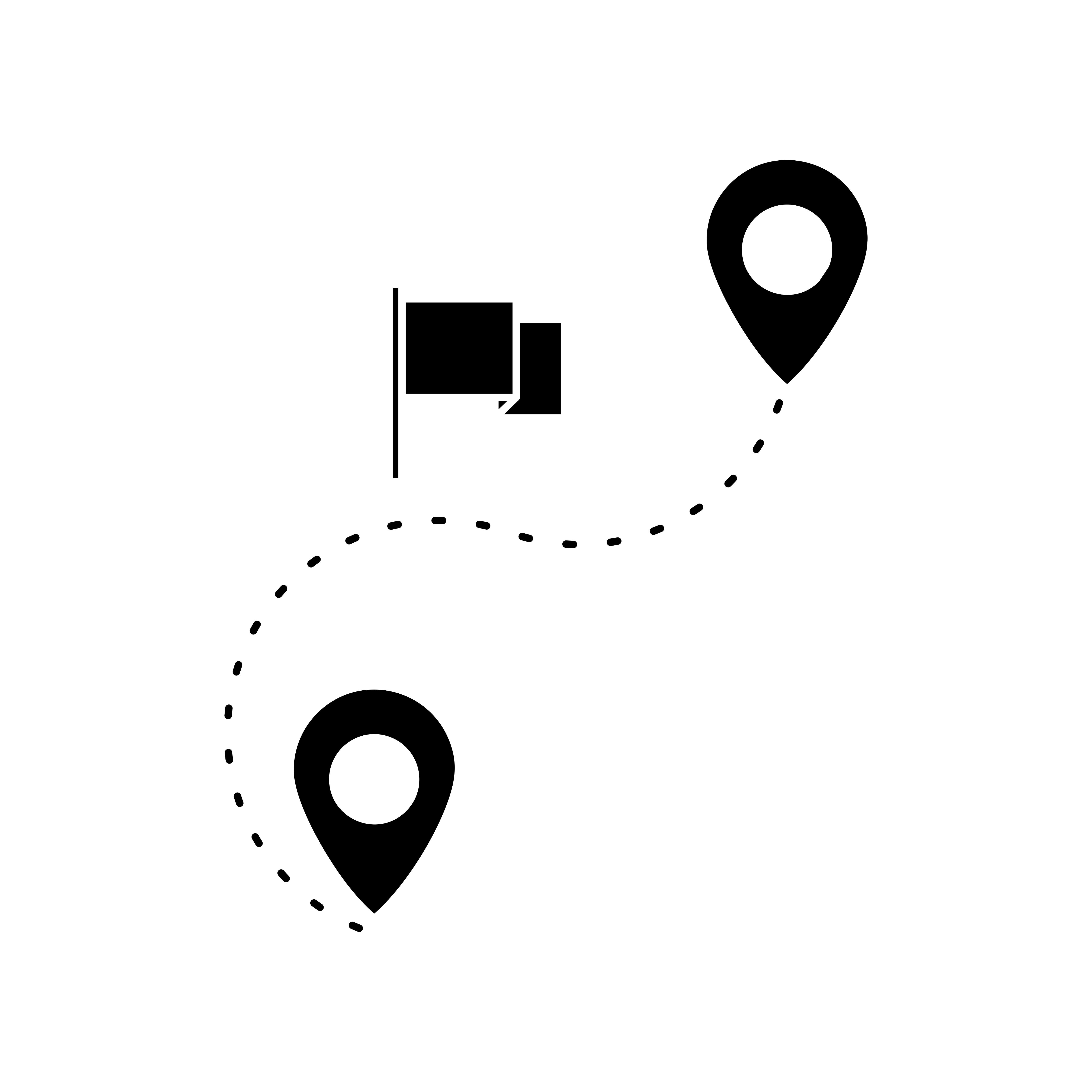 Route Glyph Black Icon Vector