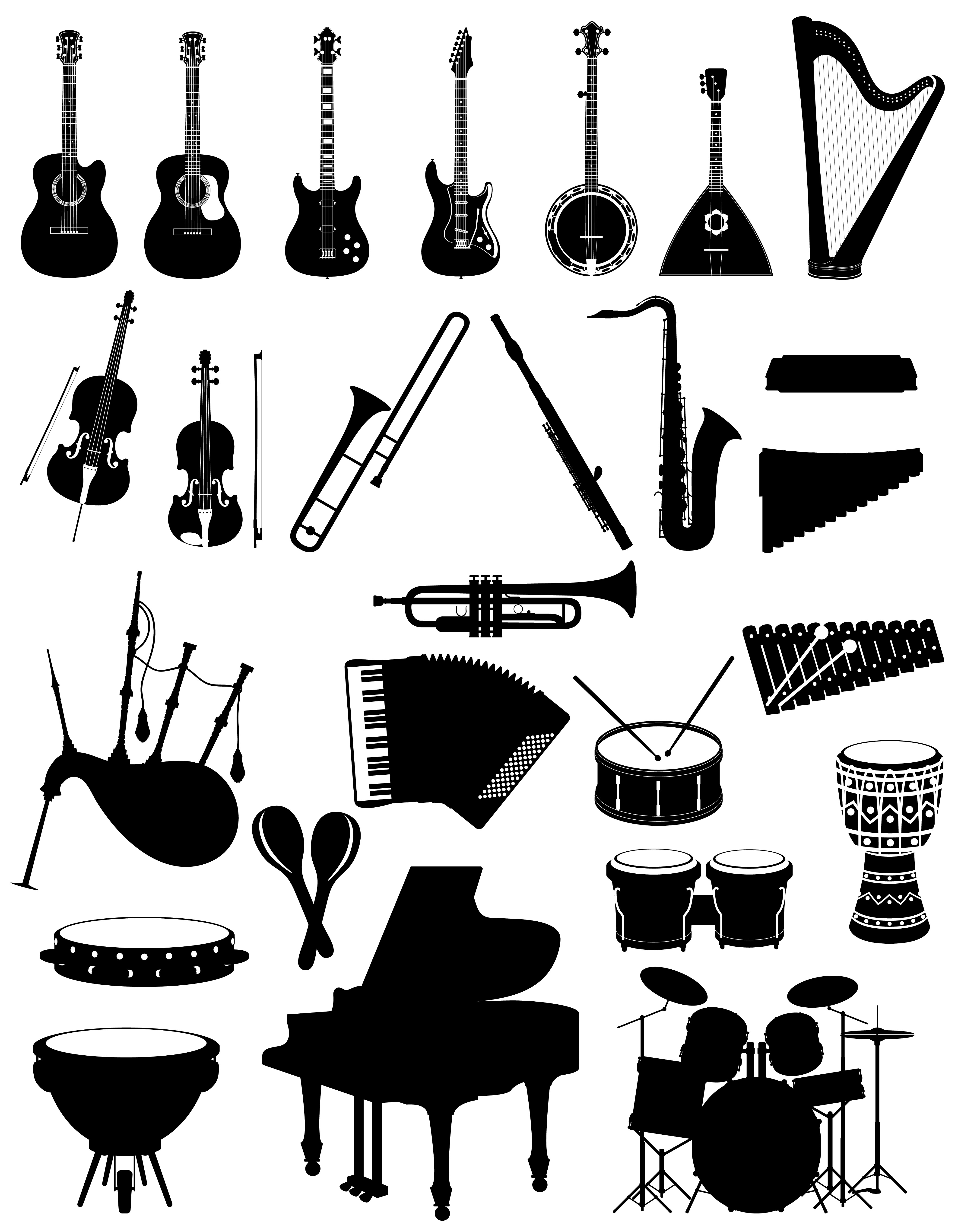 Musical Instruments Set Icons Black Silhouette Outline