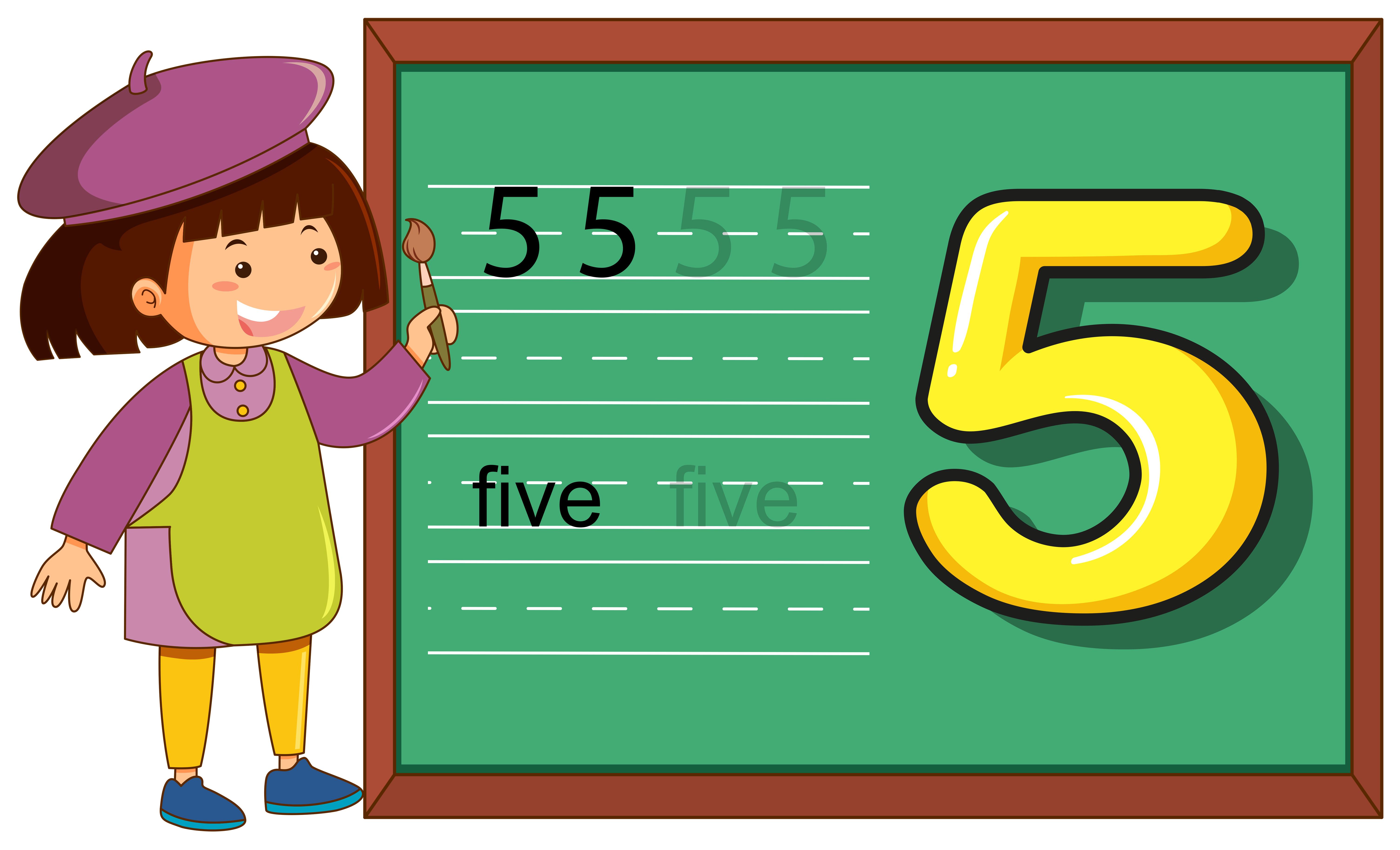 Number Five Worksheet On Blackboard