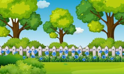 Scene with blue flowers in garden Download Free Vectors Clipart Graphics & Vector Art