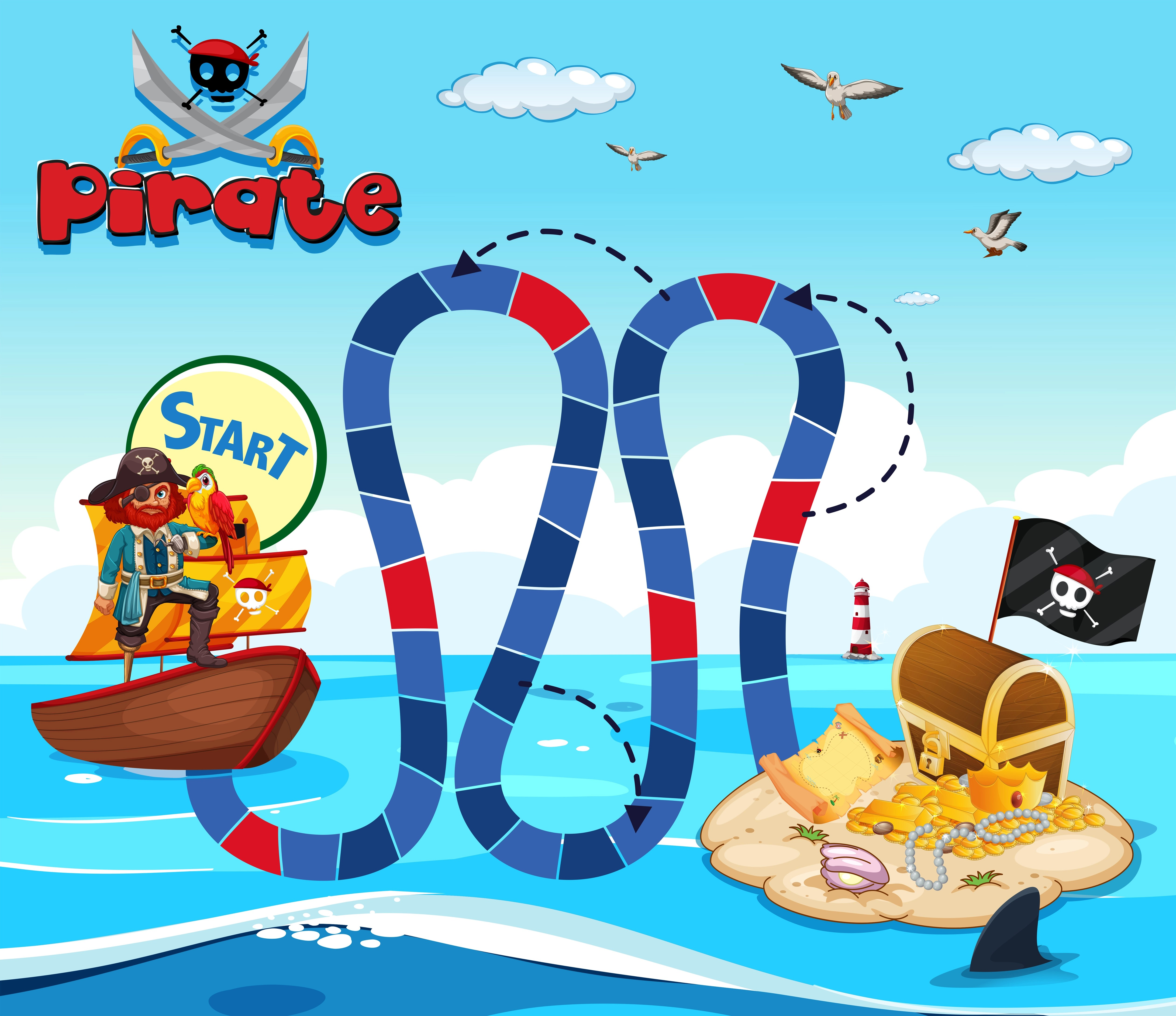 Boardgame Template With Pirate And Treassure Island Vector