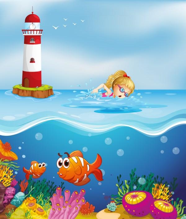 Girl Swimming Lighthouse - Free Vector