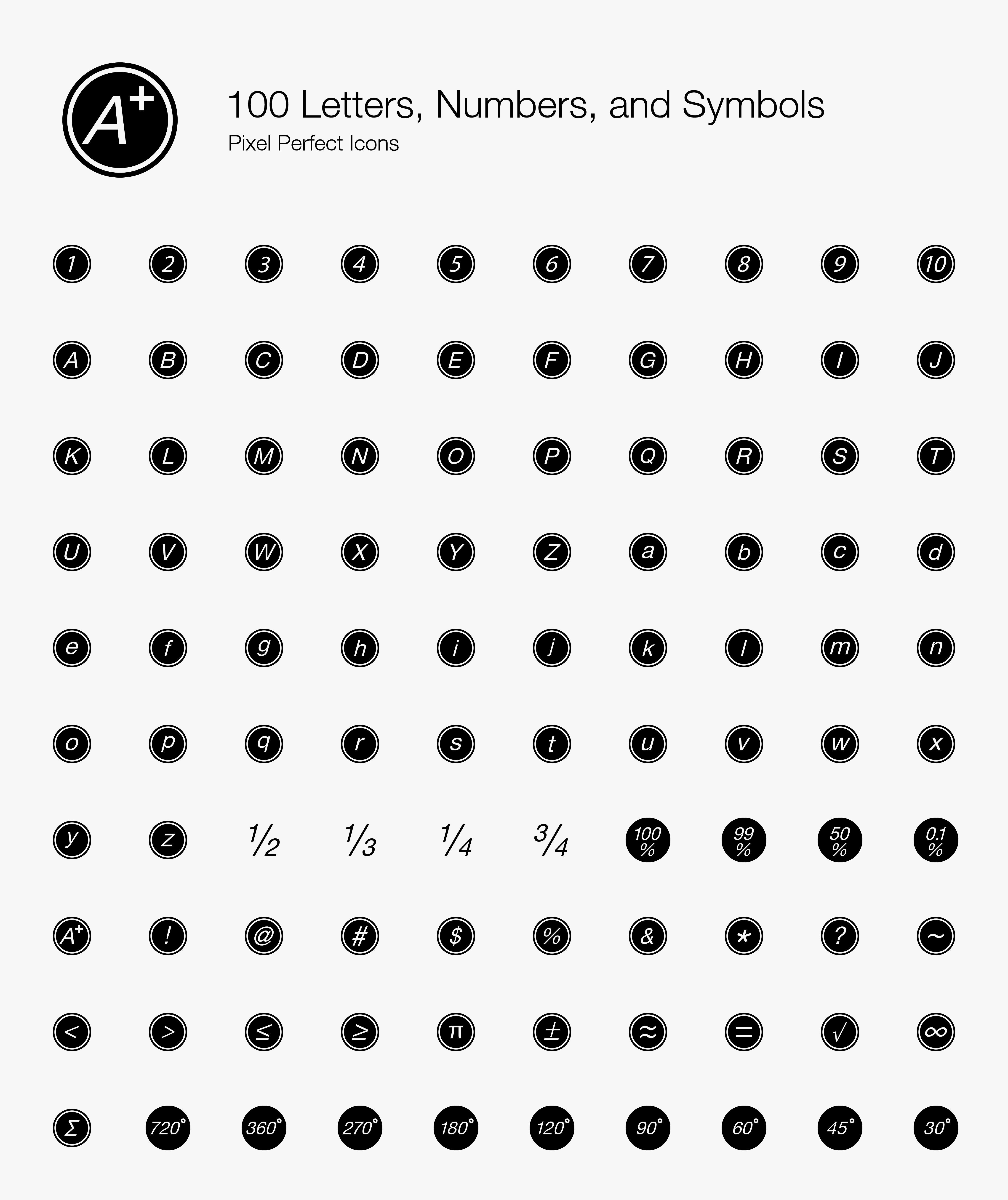 100 Letters, Numbers, and Symbols Pixel Perfect Icons