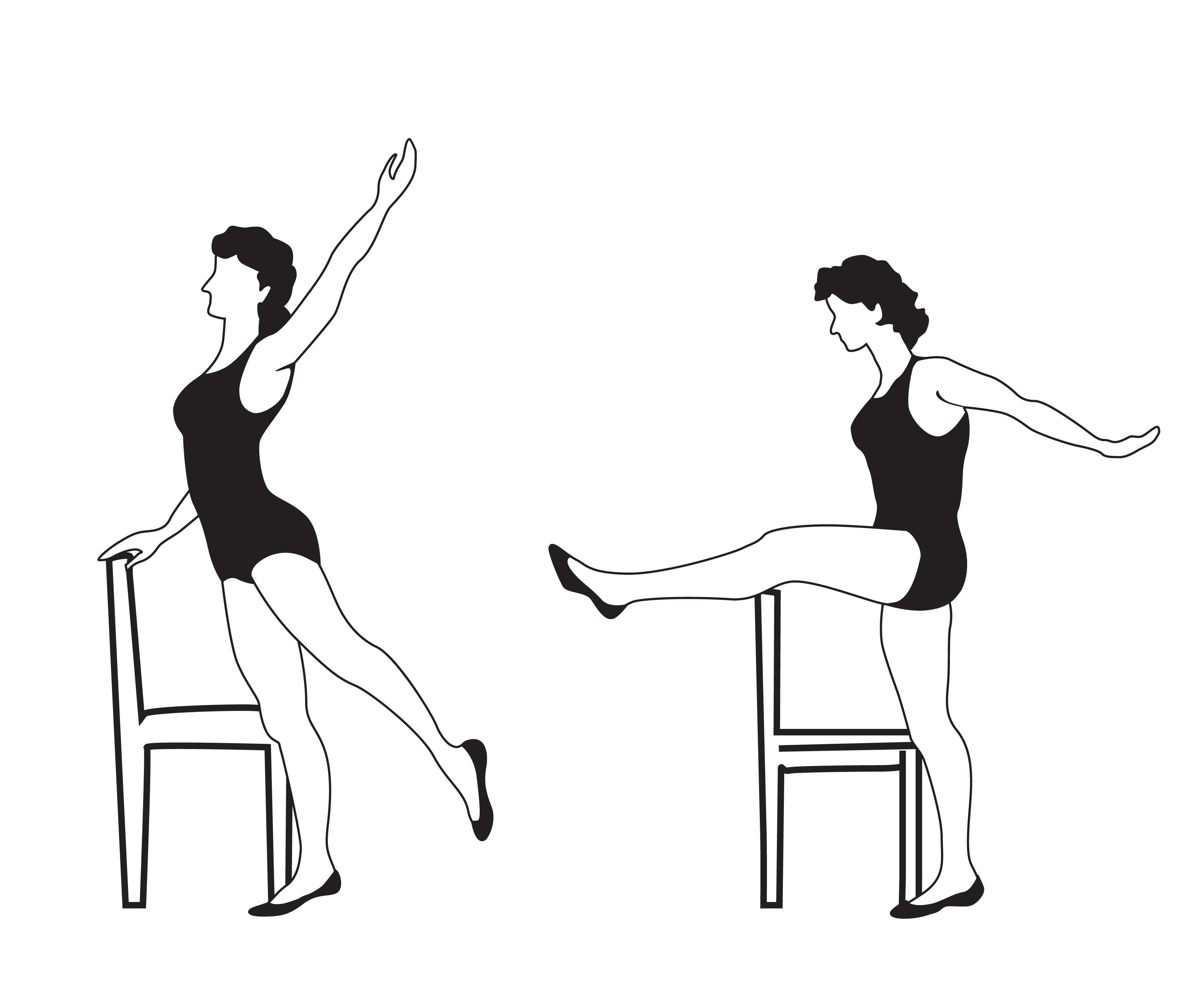 Elegant women silhouettes doing fitness exercises. Fitness