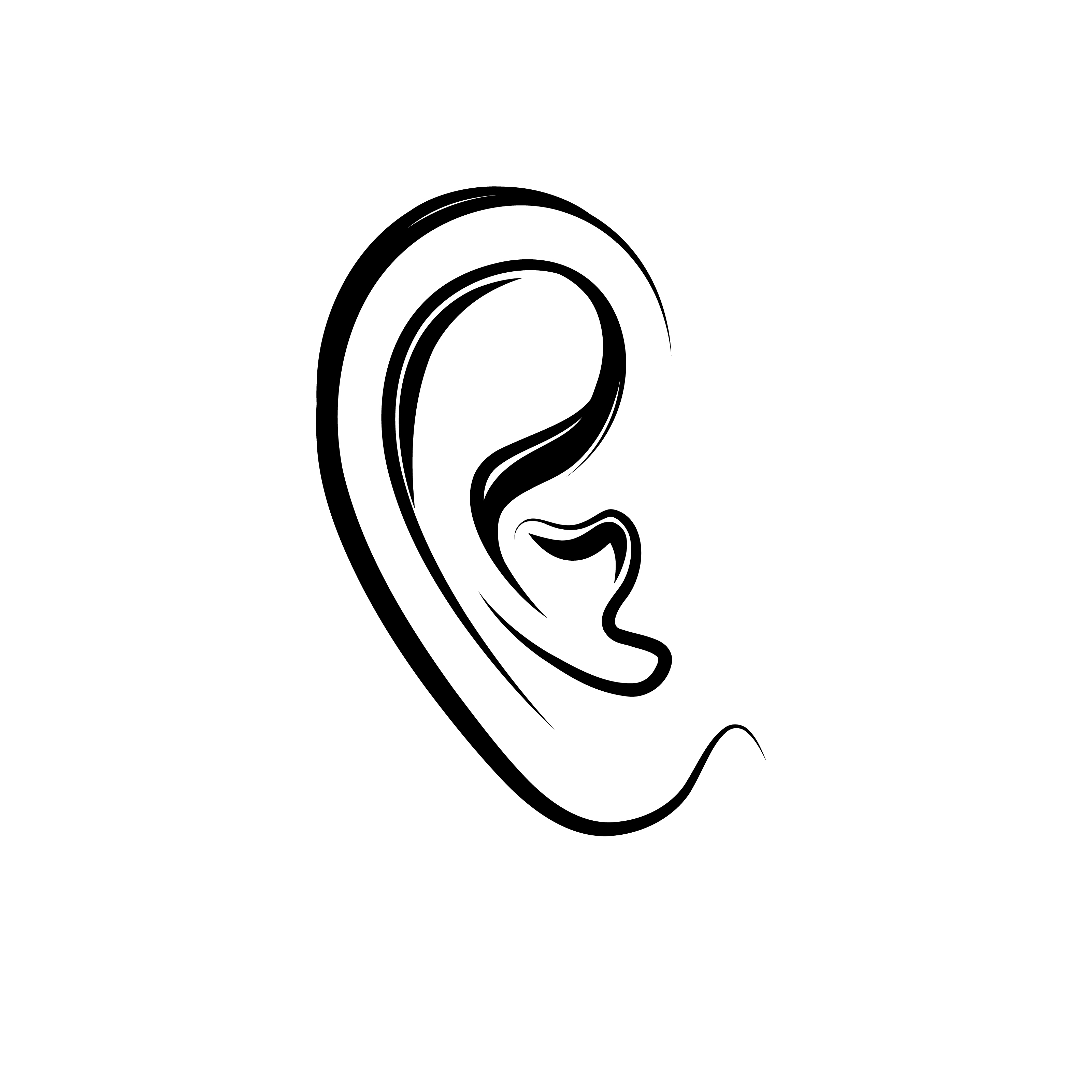 Ear Engraving Icon Human Ear Isolated Over White