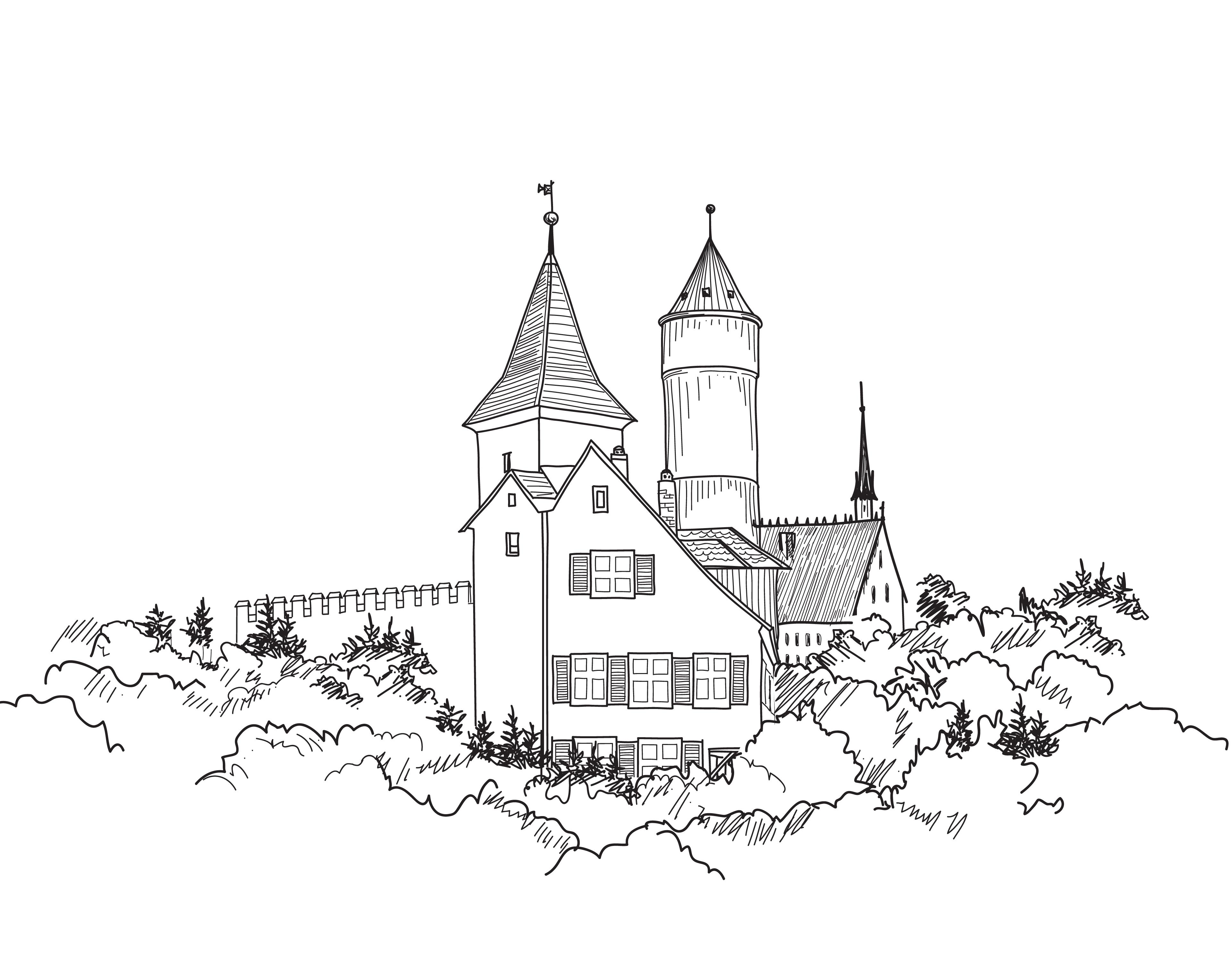 Medieval castle landscape. Ancient castle tower building