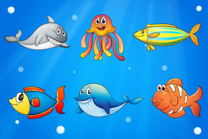 Six Smiling Sea Creatures Under The Deep Sea Download Free Vectors Clipart Graphics Vector Art