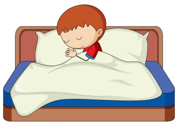 bed sleeping boy clipart vector system