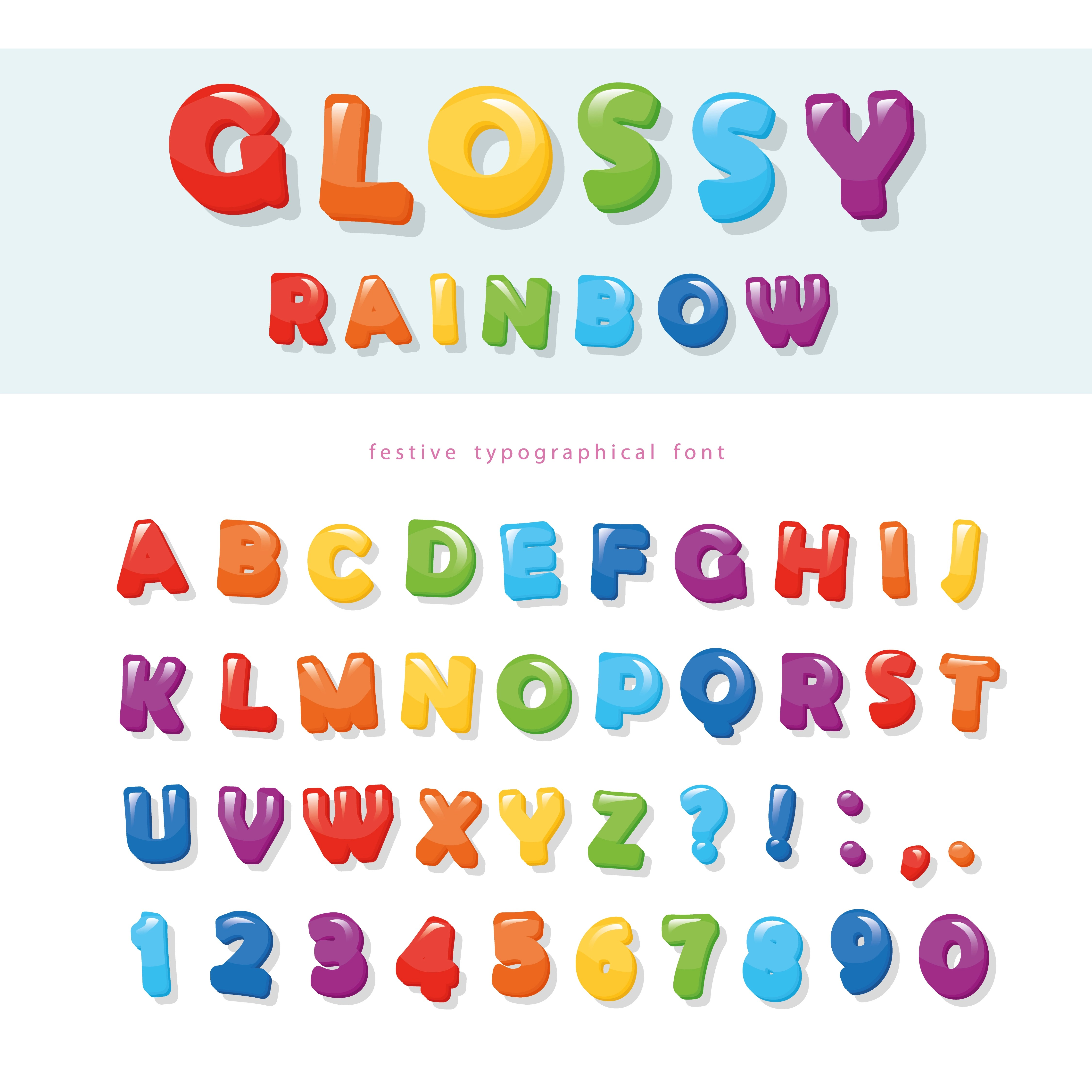 Glossy Rainbow Colored Font Design Festive Abc Letters