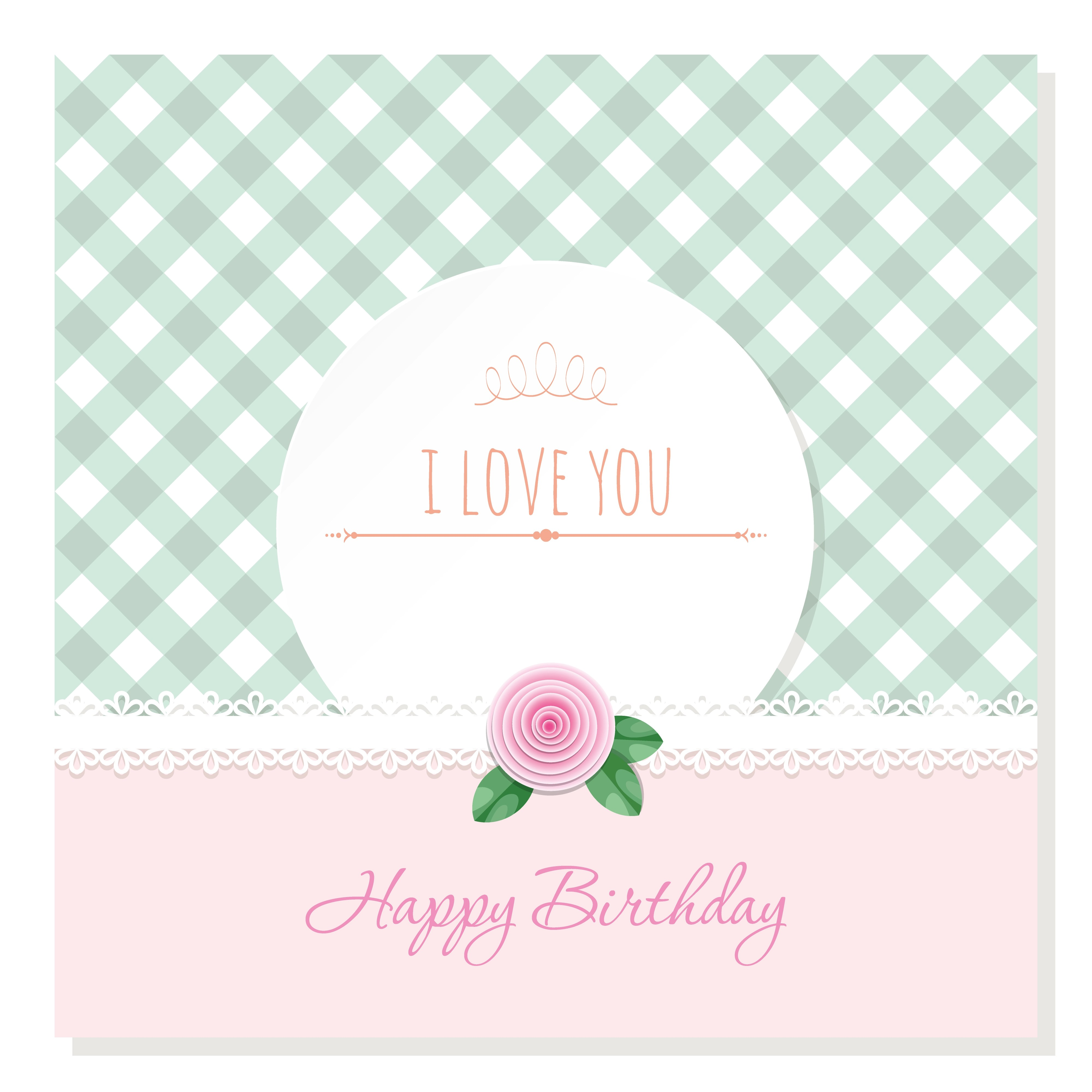 T Alphabet Cute Wallpaper Birthday Greeting Card Template Round Frame On Plaid