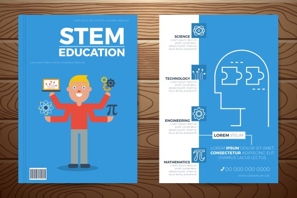 Stem Education Book Cover And Flyer Template