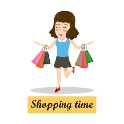 Happy cartoon woman walking with shopping bags shopping time concept Download Free Vectors Clipart Graphics & Vector Art