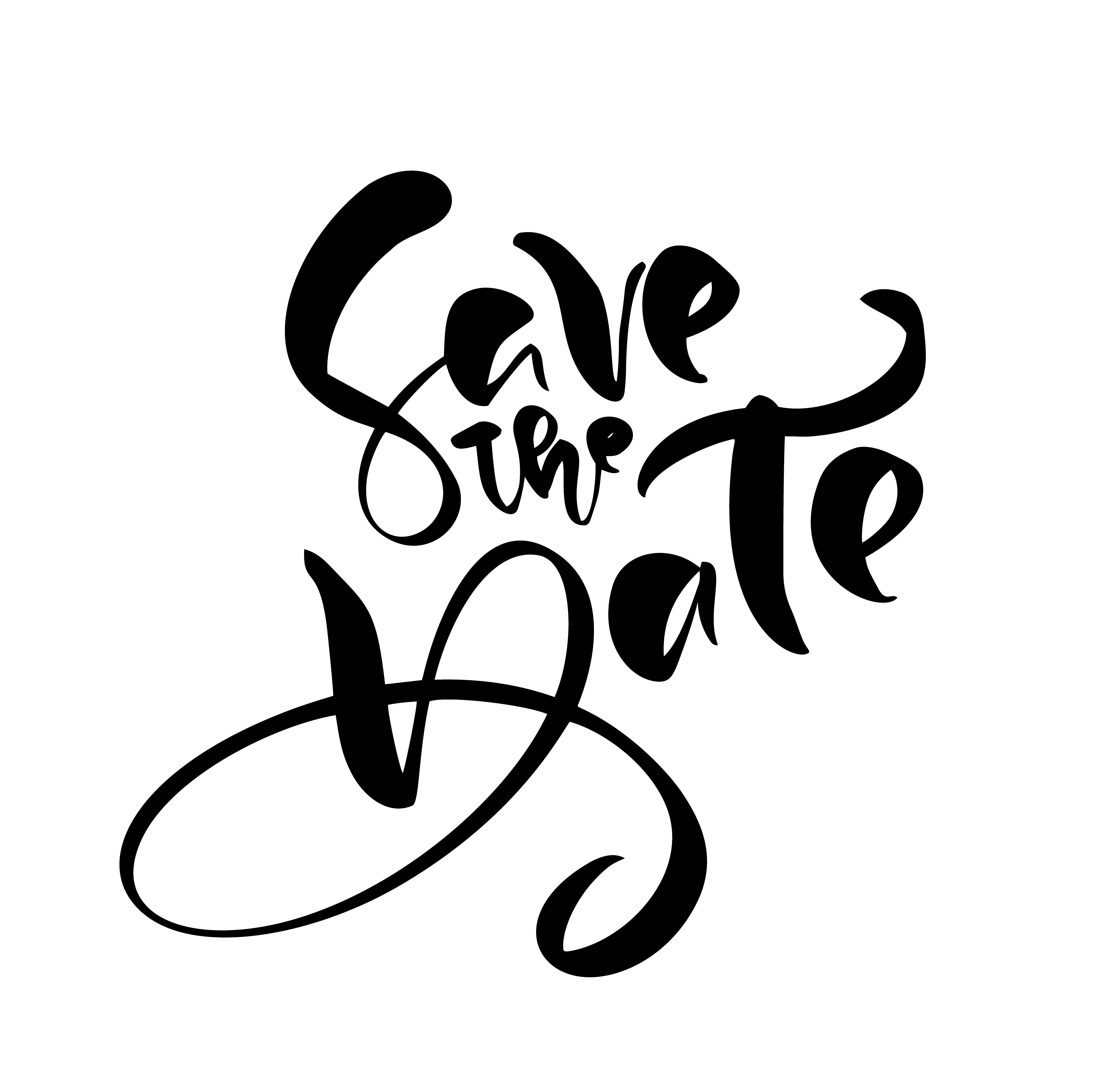 Save The Date Hand Drawn Text Calligraphy Vector Lettering