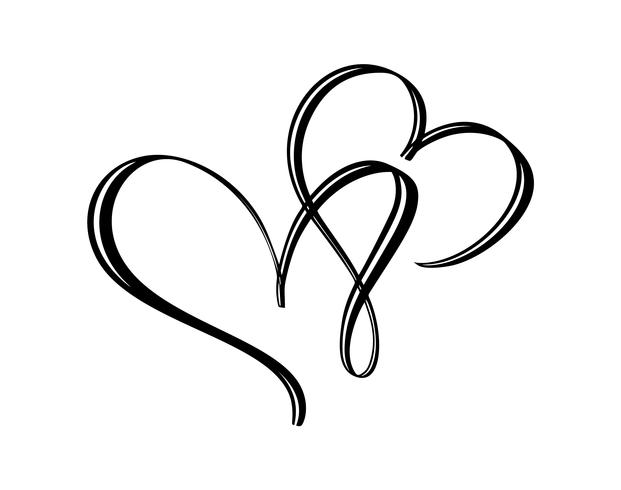 Hand drawn two Heart love sign. Romantic calligraphy