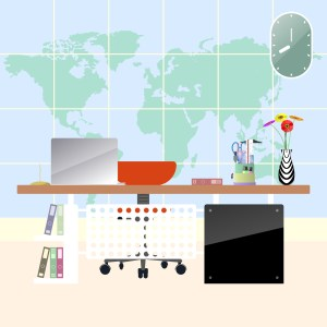 background office workplace modern map flat workspace creative illustration vector clipart