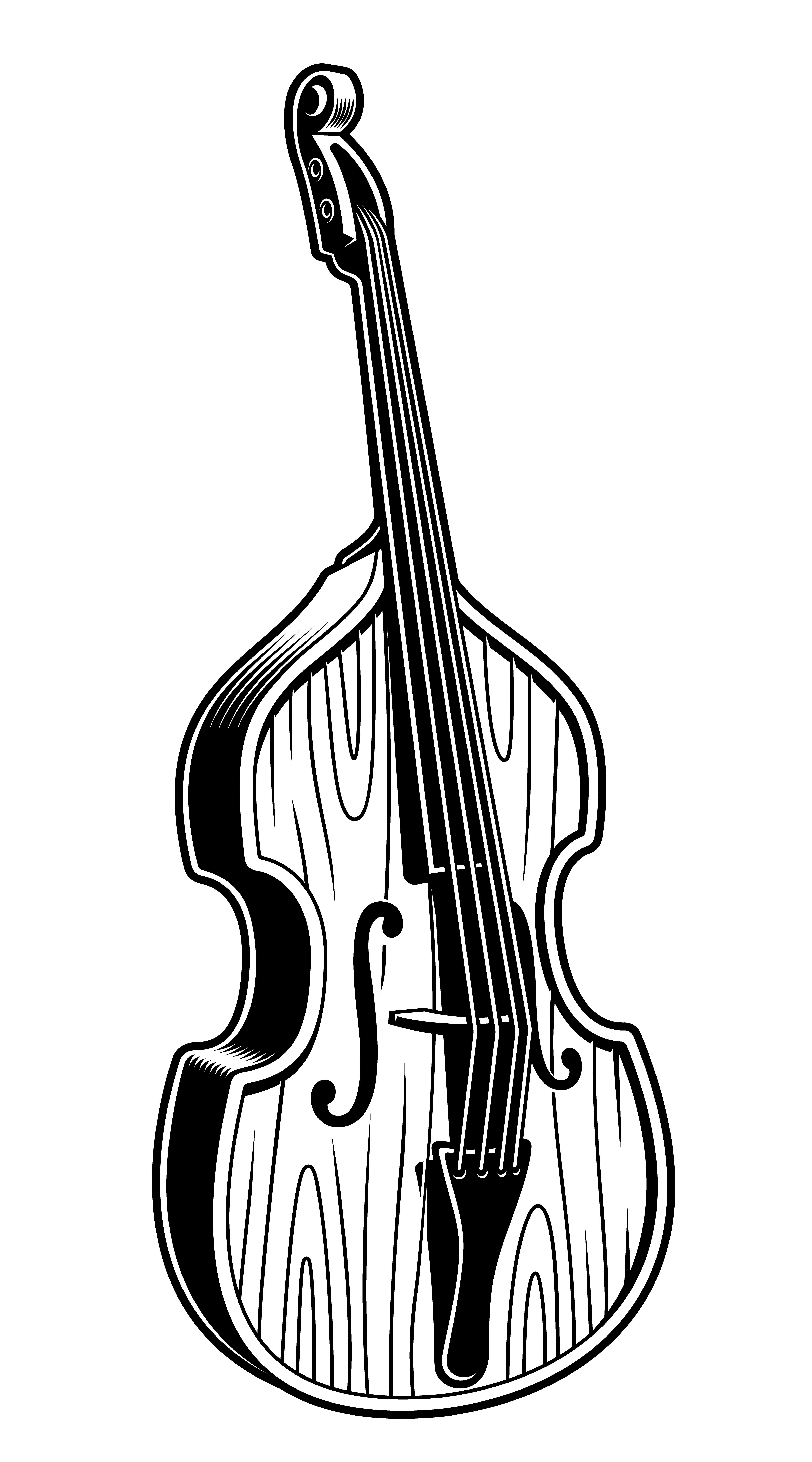 Vector Illustration Of Double Bass