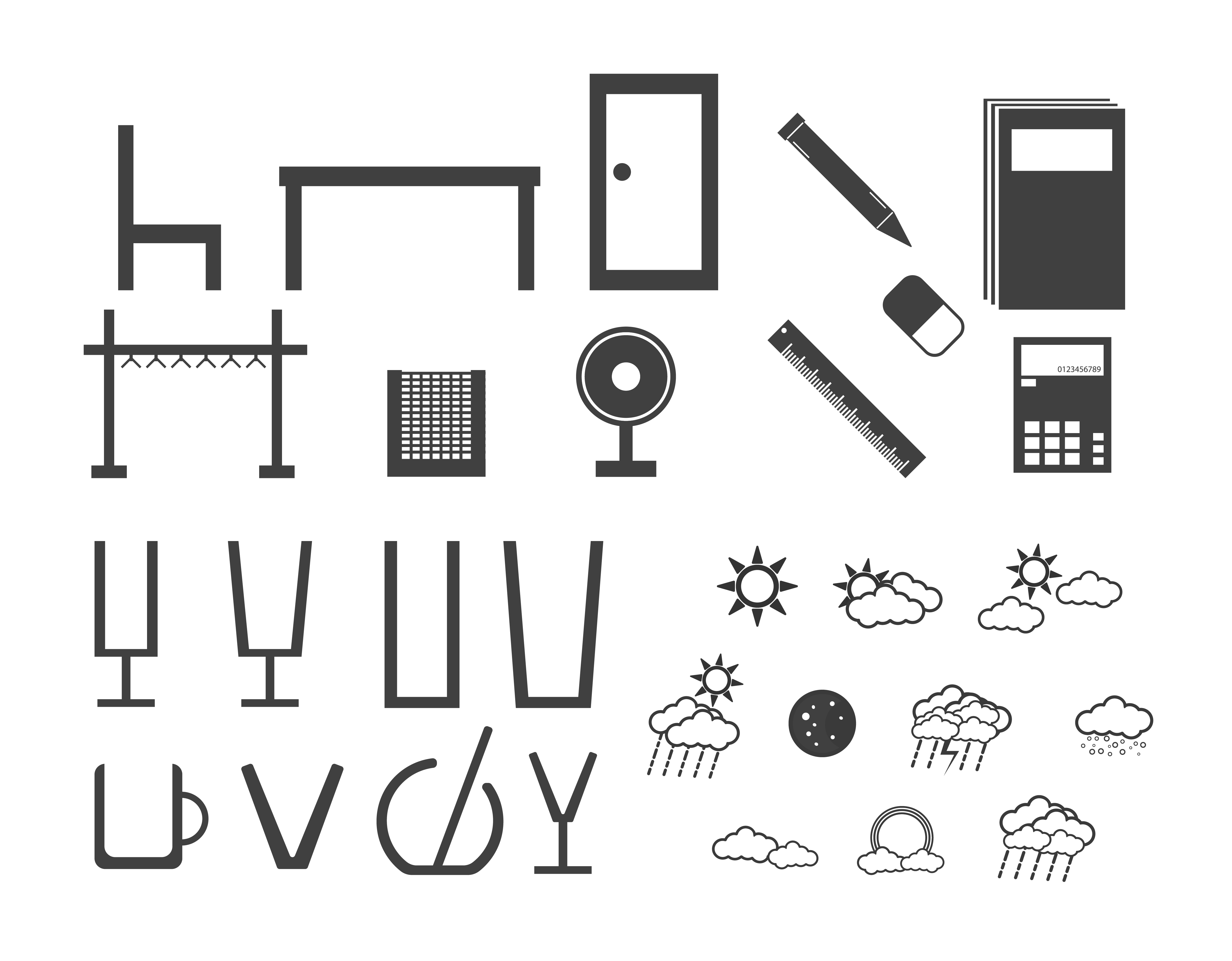 Different type of electronic equipments, clouds, home