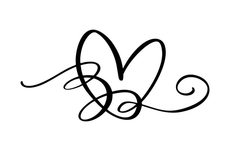 Hand drawn Heart love sign. Romantic calligraphy vector of