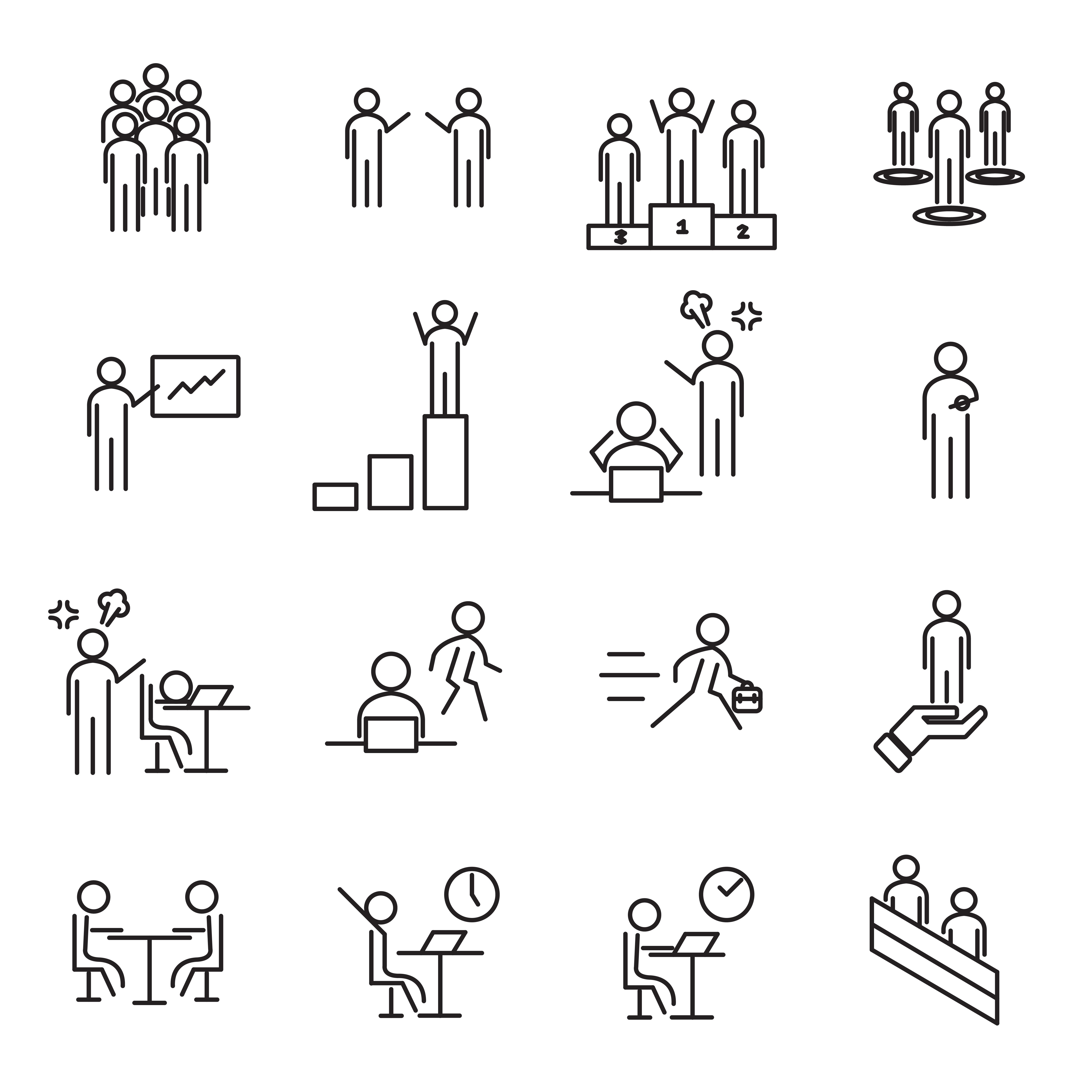 People in workplace thin line icon set vector. Office and