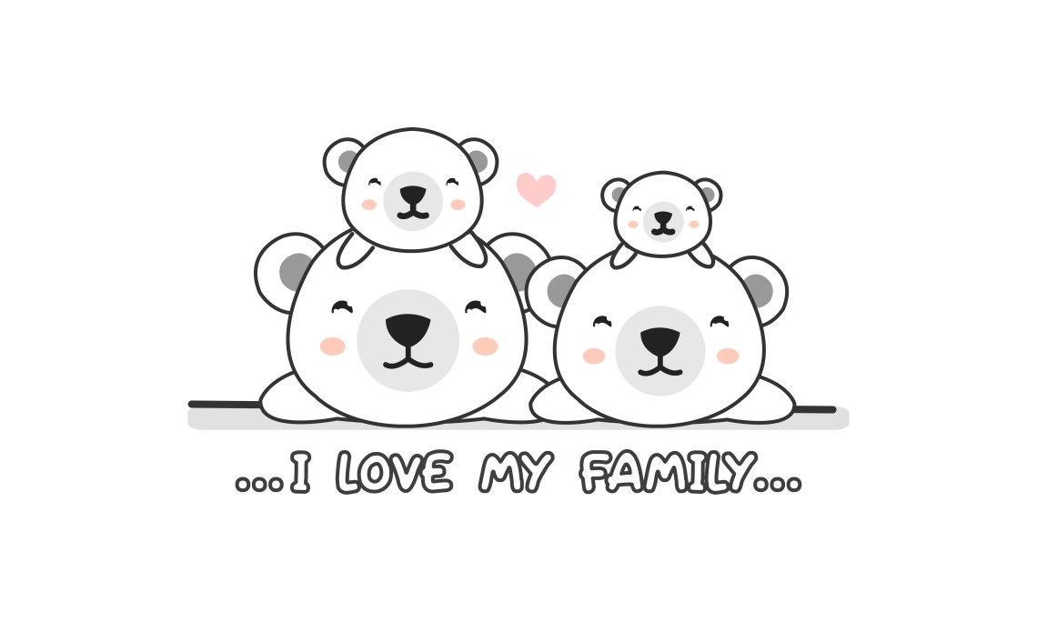 """Download Cute happy polar bear family say """"I love my family ..."""