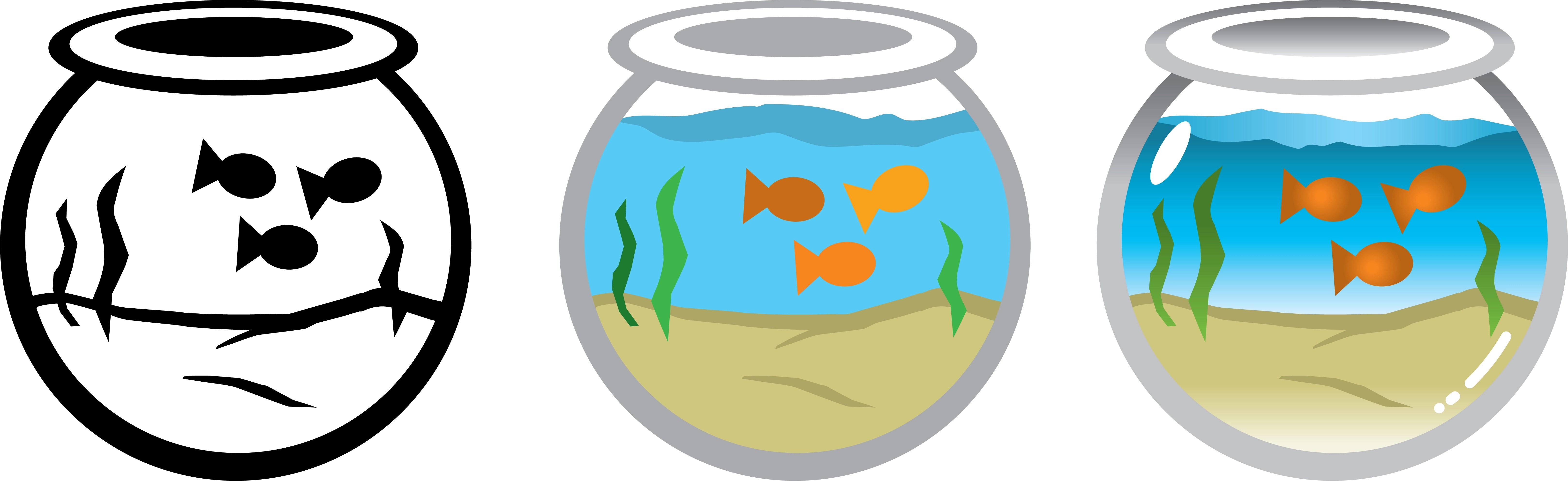 Vector Illustration Of Goldfish In A Round Fish Tank