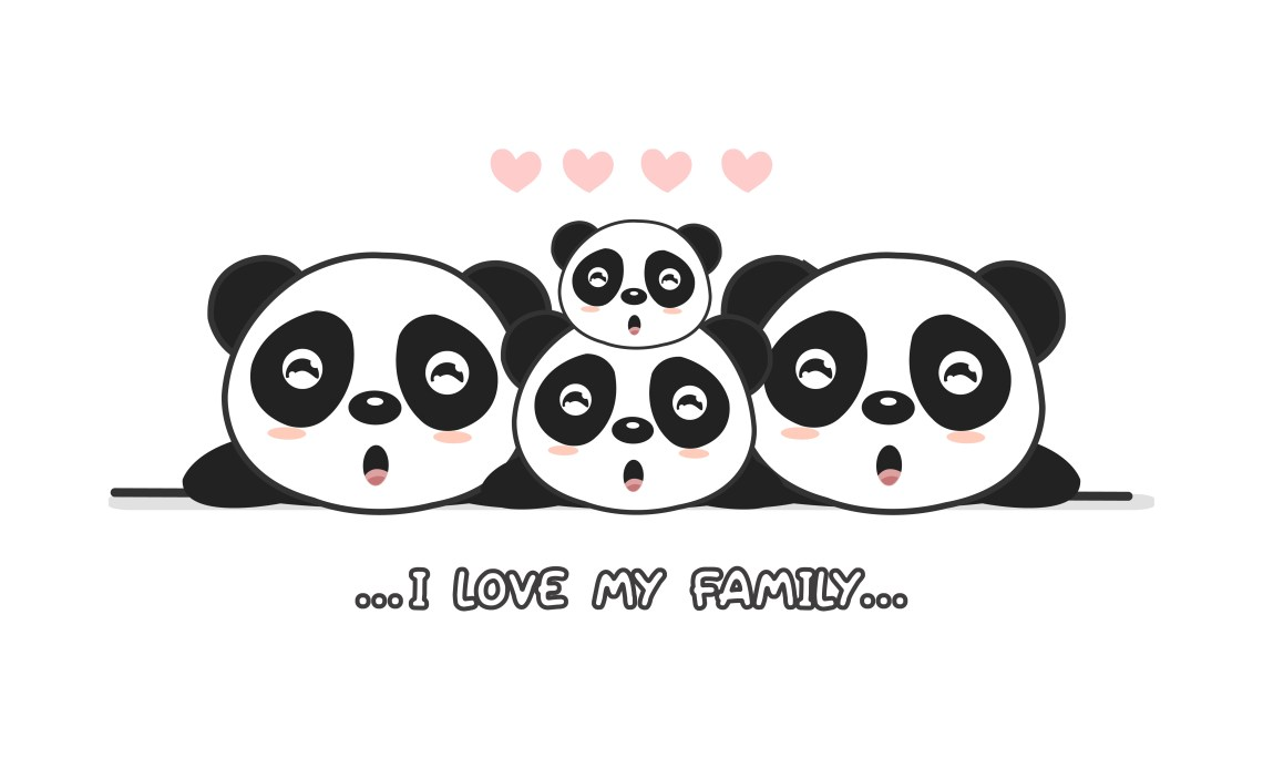 """Download Cute happy panda family say """"I love my family"""". - Download ..."""