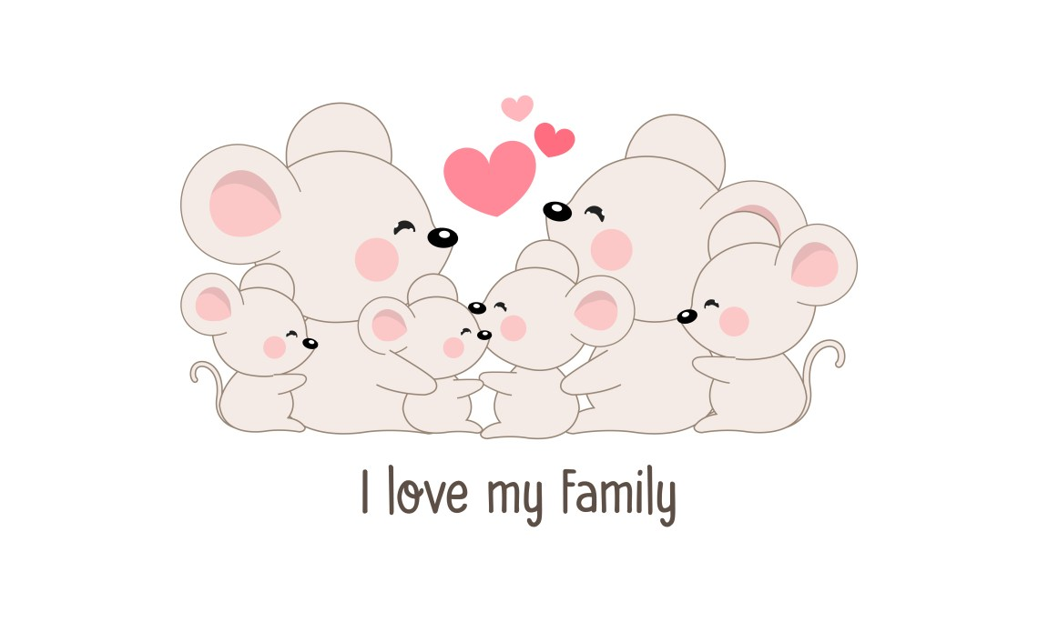 """Download Cute happy rat family say """"I love my family"""". - Download ..."""