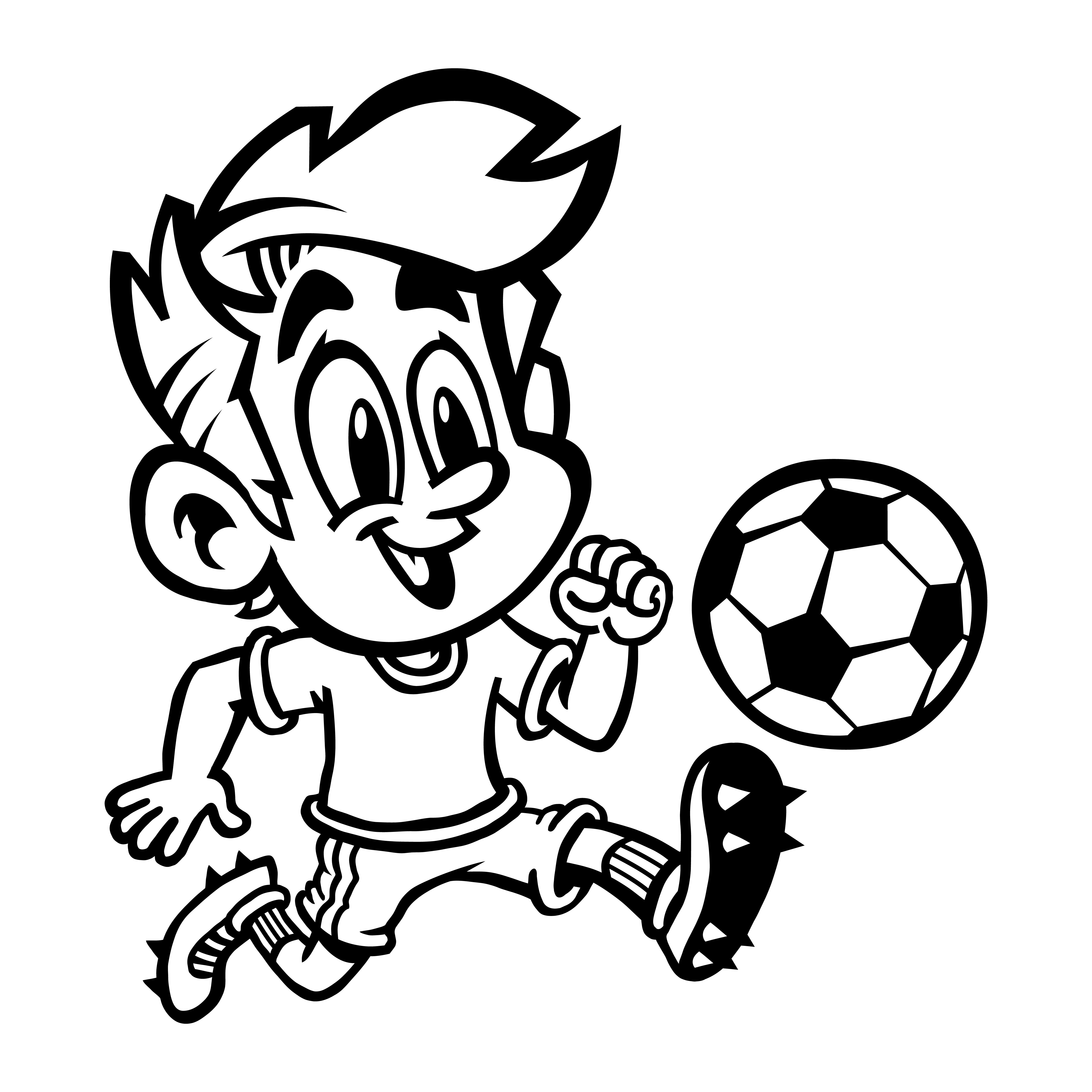 Cartoon Boy Kid Playing Football Or Soccer In A Green T