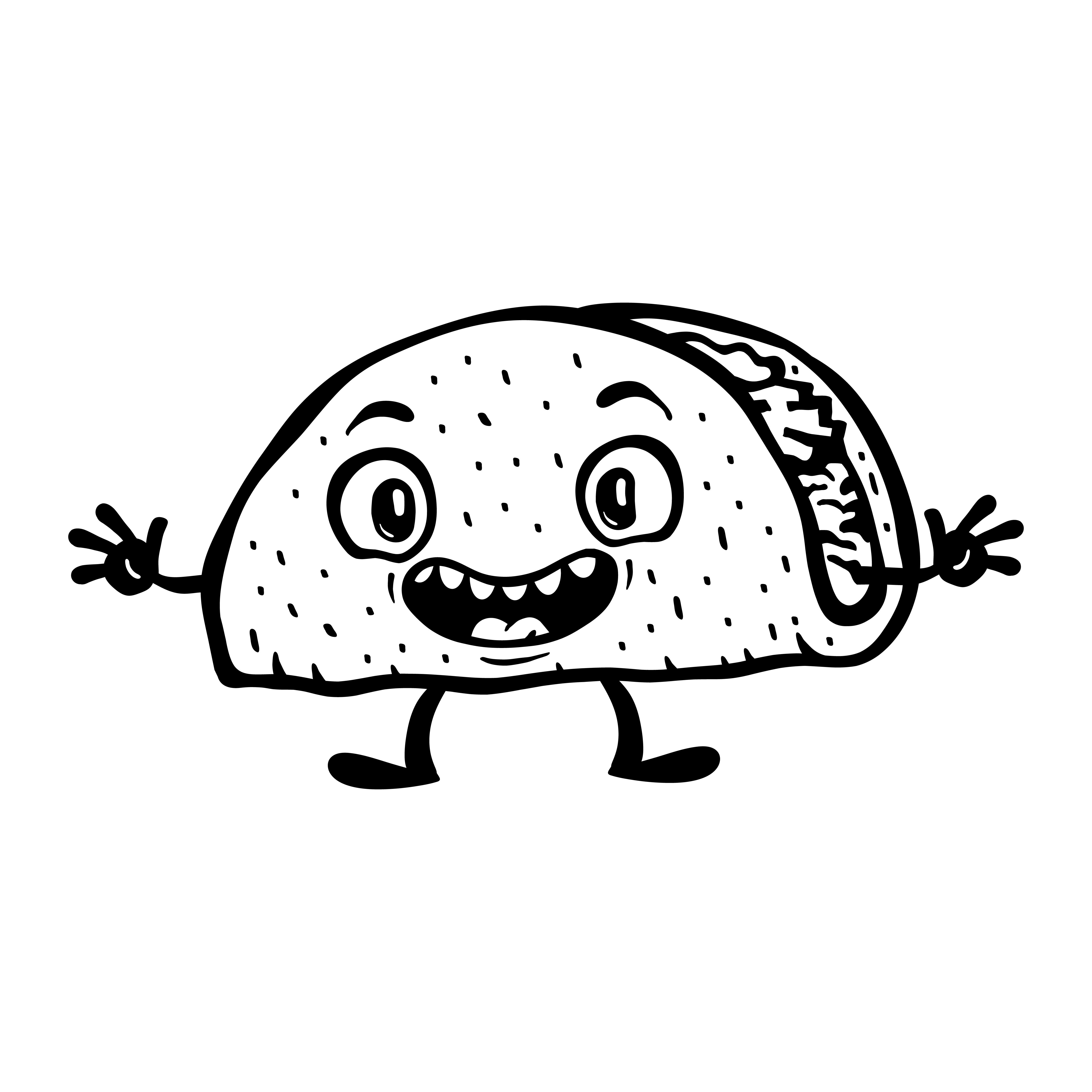 Cute Funny Cartoon Taco Vector Illustration