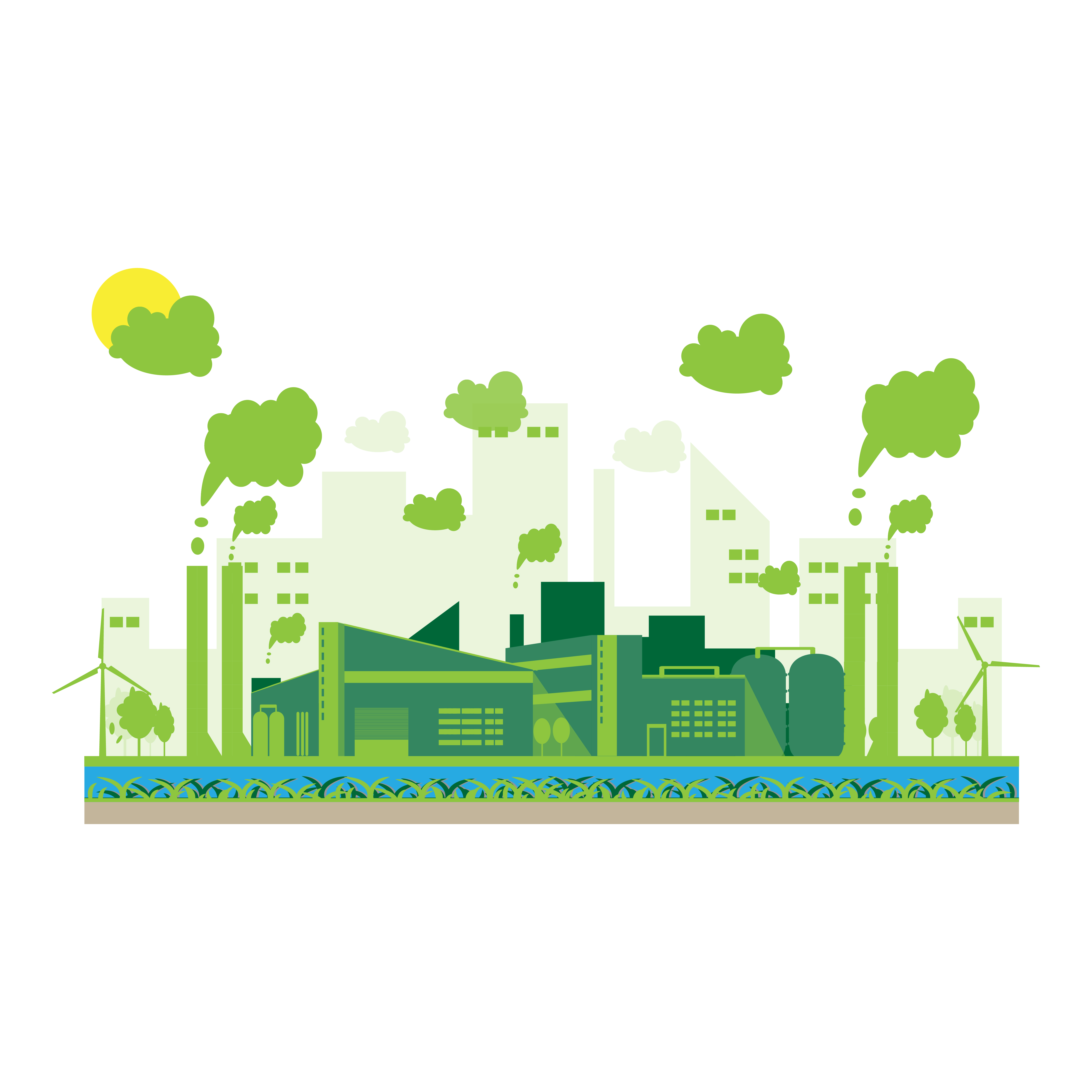 Eco Industrial Factory In A Flat Style
