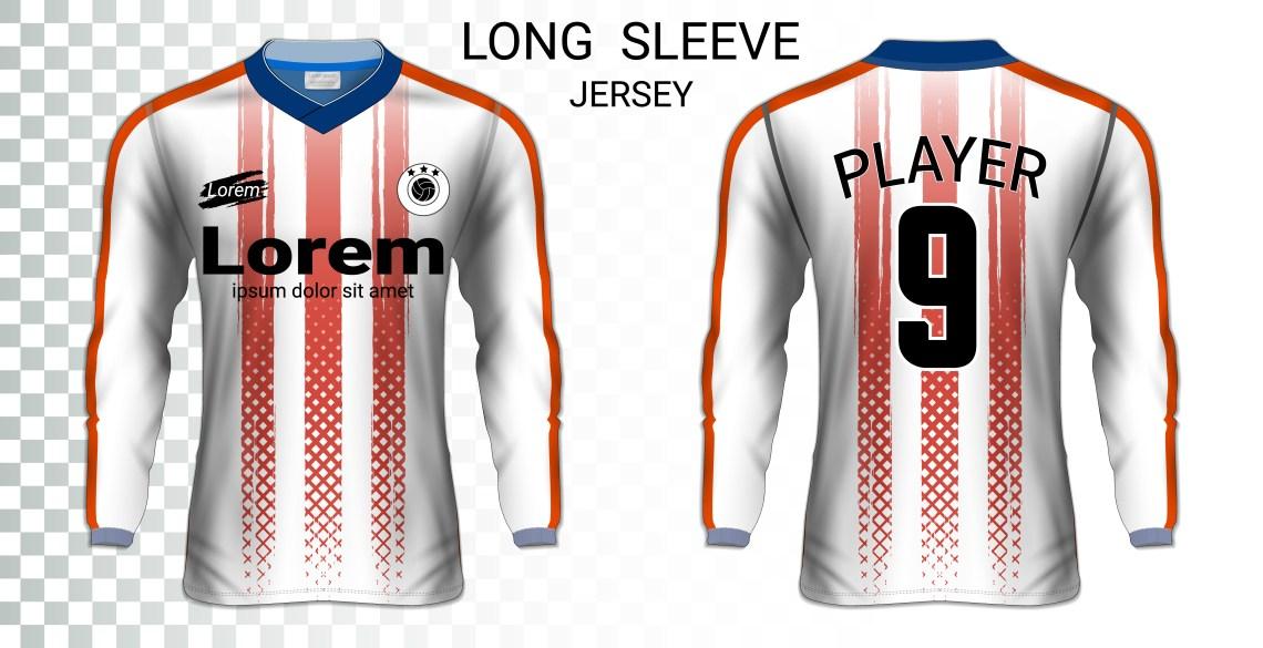 Download Long sleeve soccer jerseys t-shirts mockup template ...