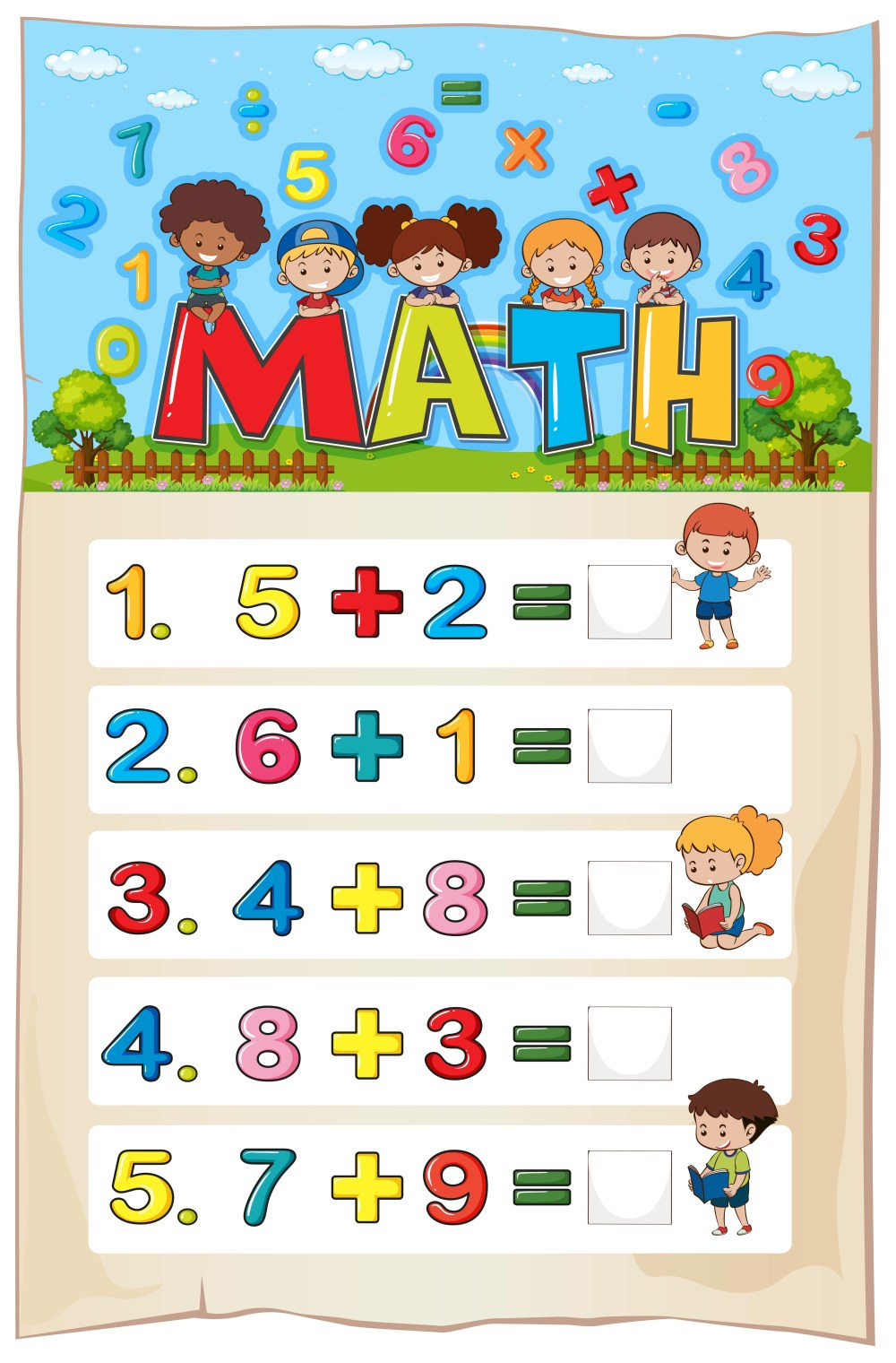 medium resolution of Addition worksheet template for young children - Download Free Vectors