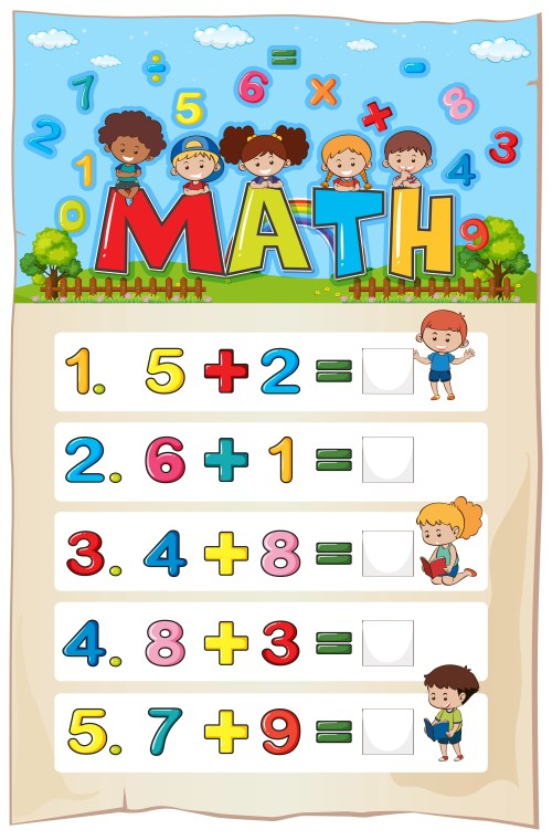 small resolution of Addition worksheet template for young children - Download Free Vectors