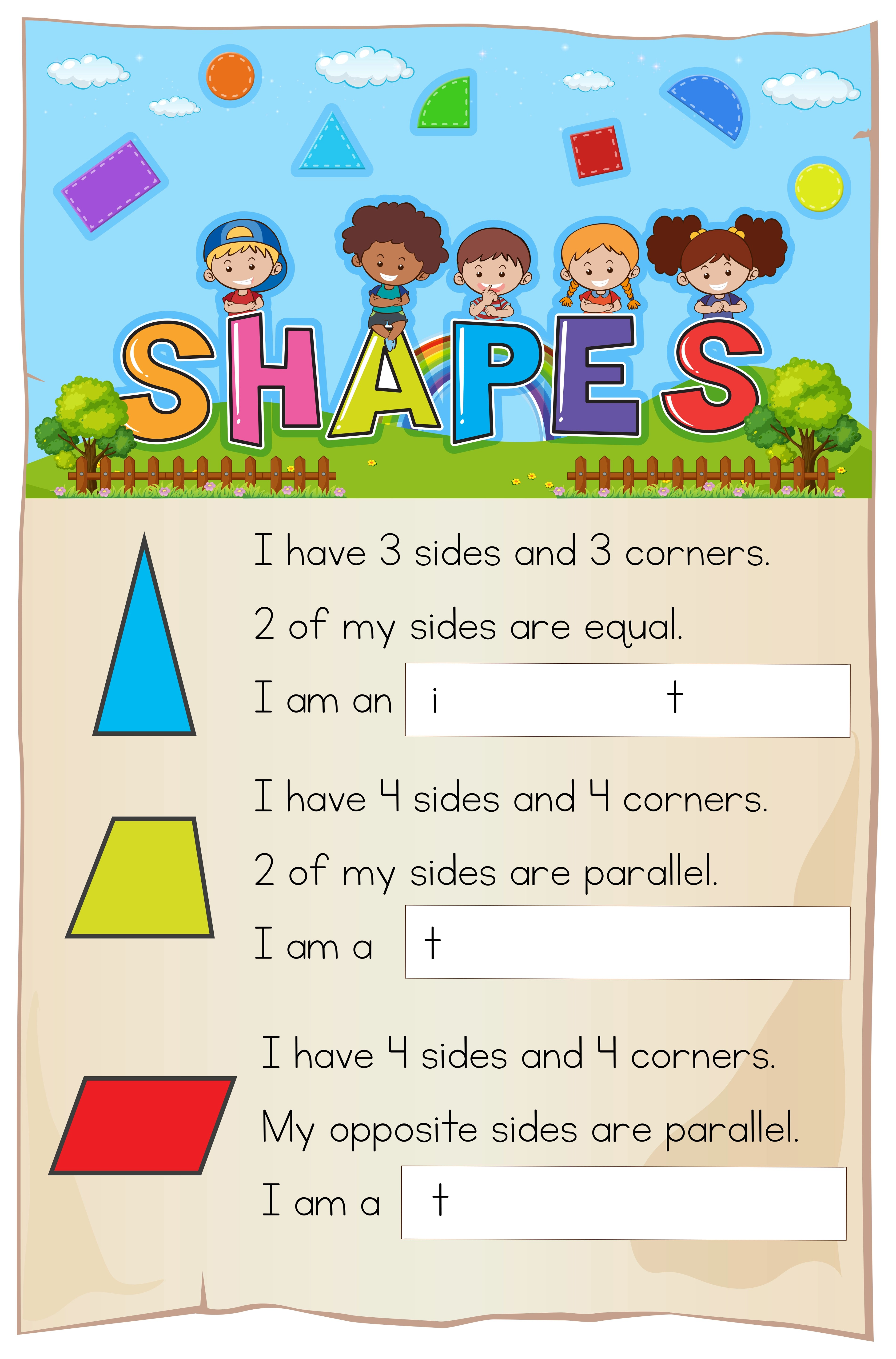 Math Worksheet Template For Shapes